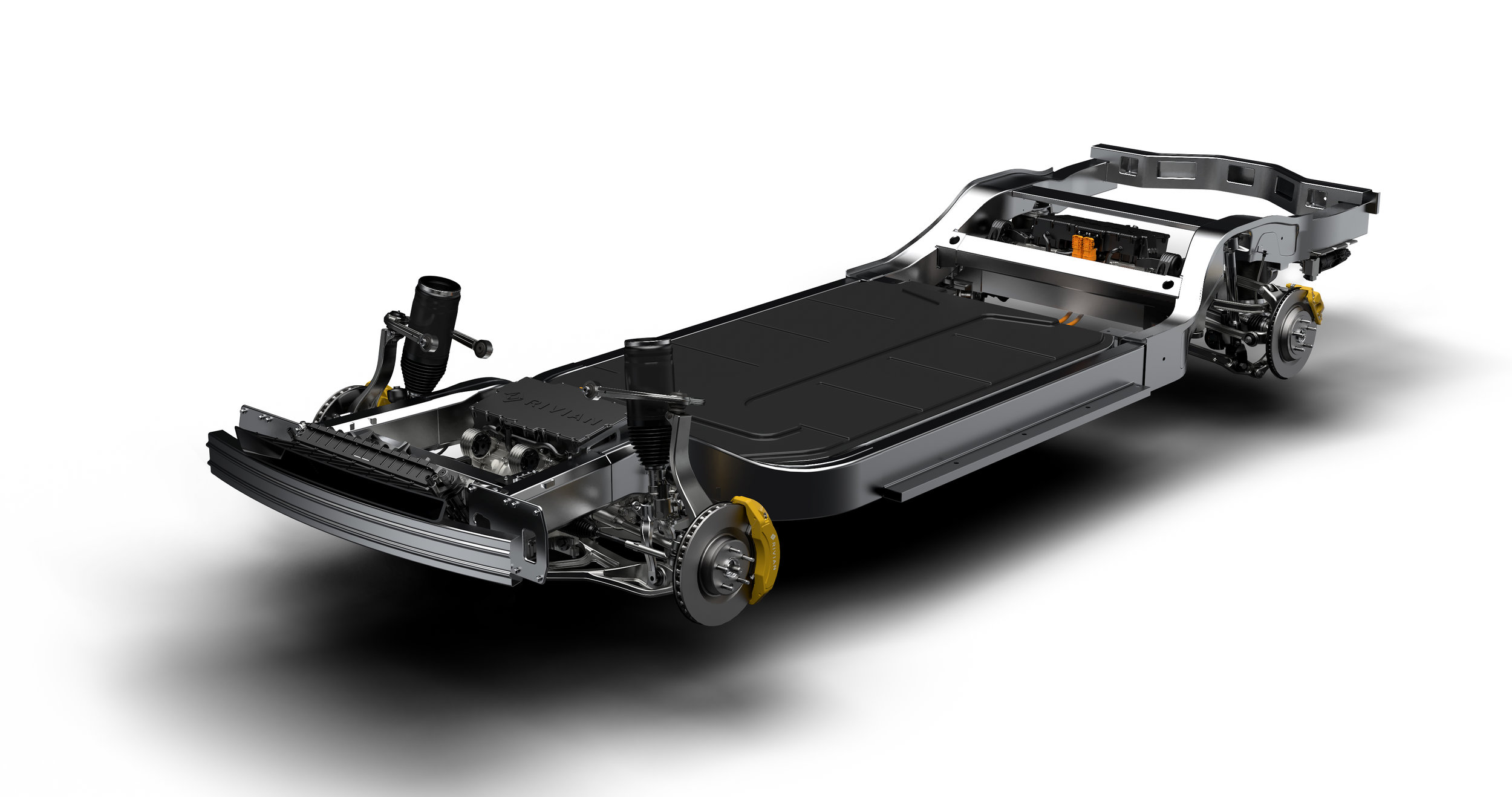 The Rivian 'skateboard' chassis and motor system