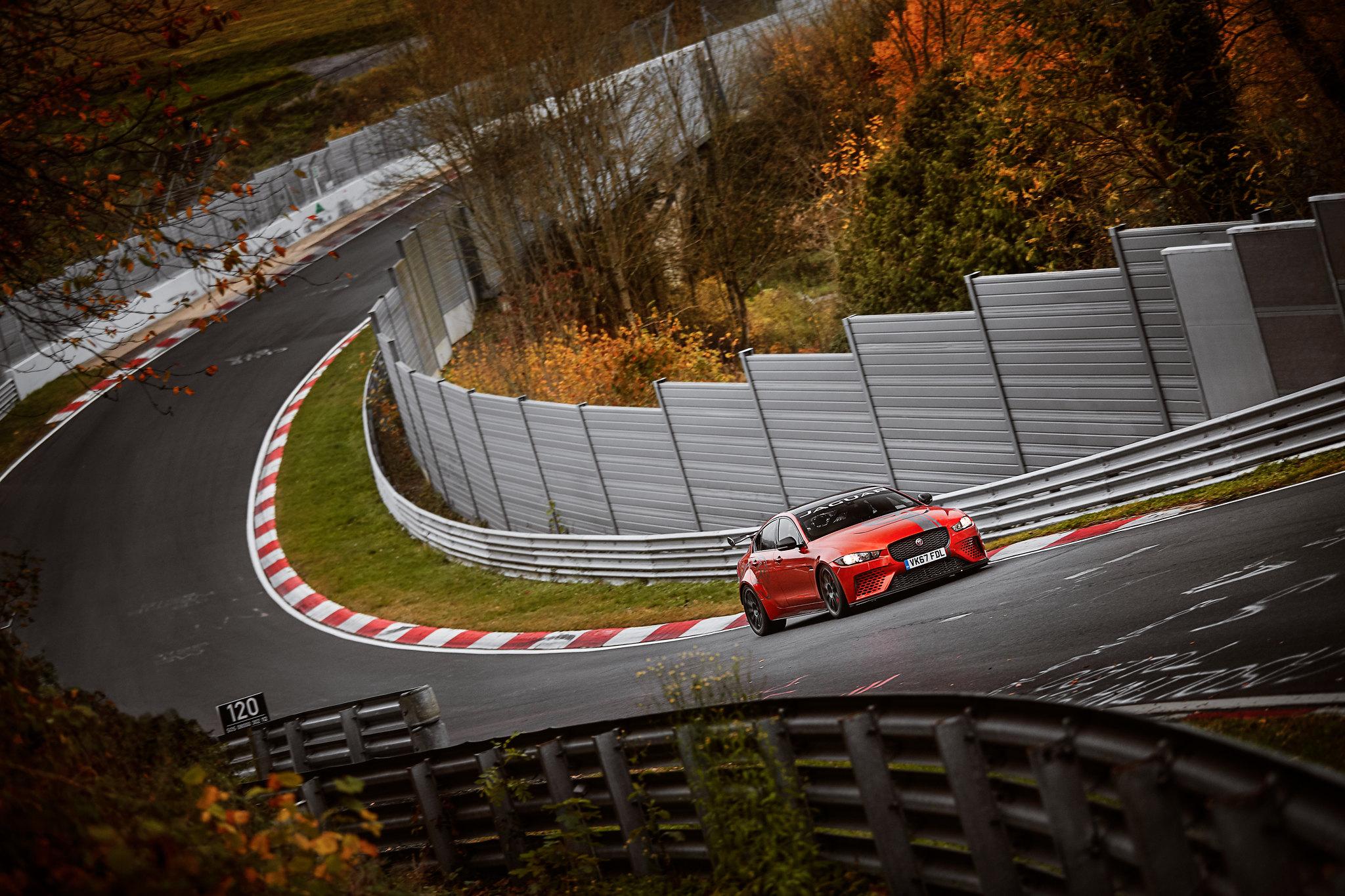 The Jaguar XE SV at the Nürburgring — image courtesy of  JAGUAR MENA
