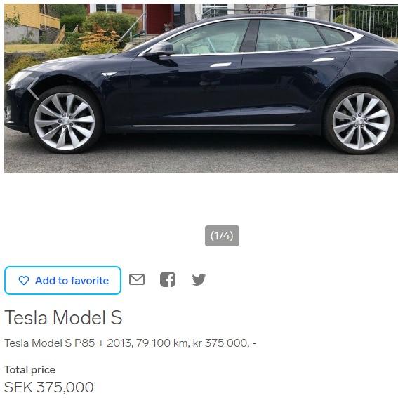 Tesla Model S listing