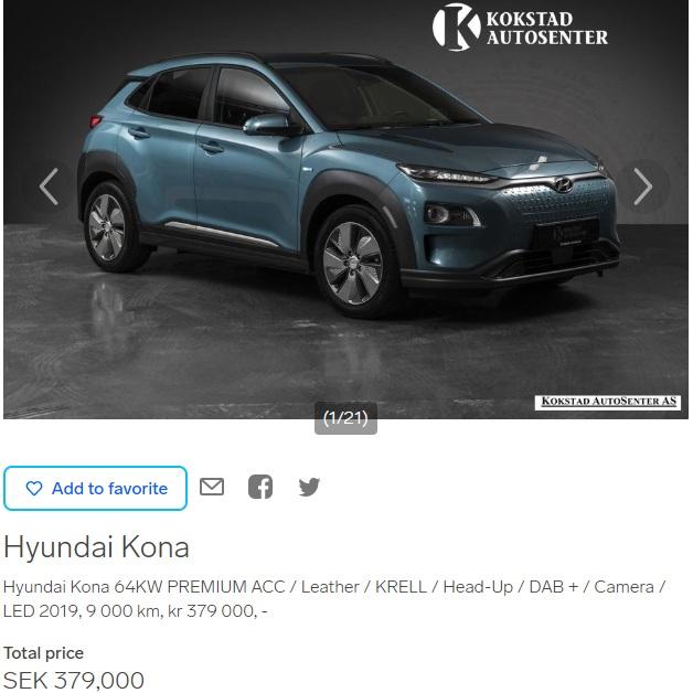 Hyundai Kona EV listing