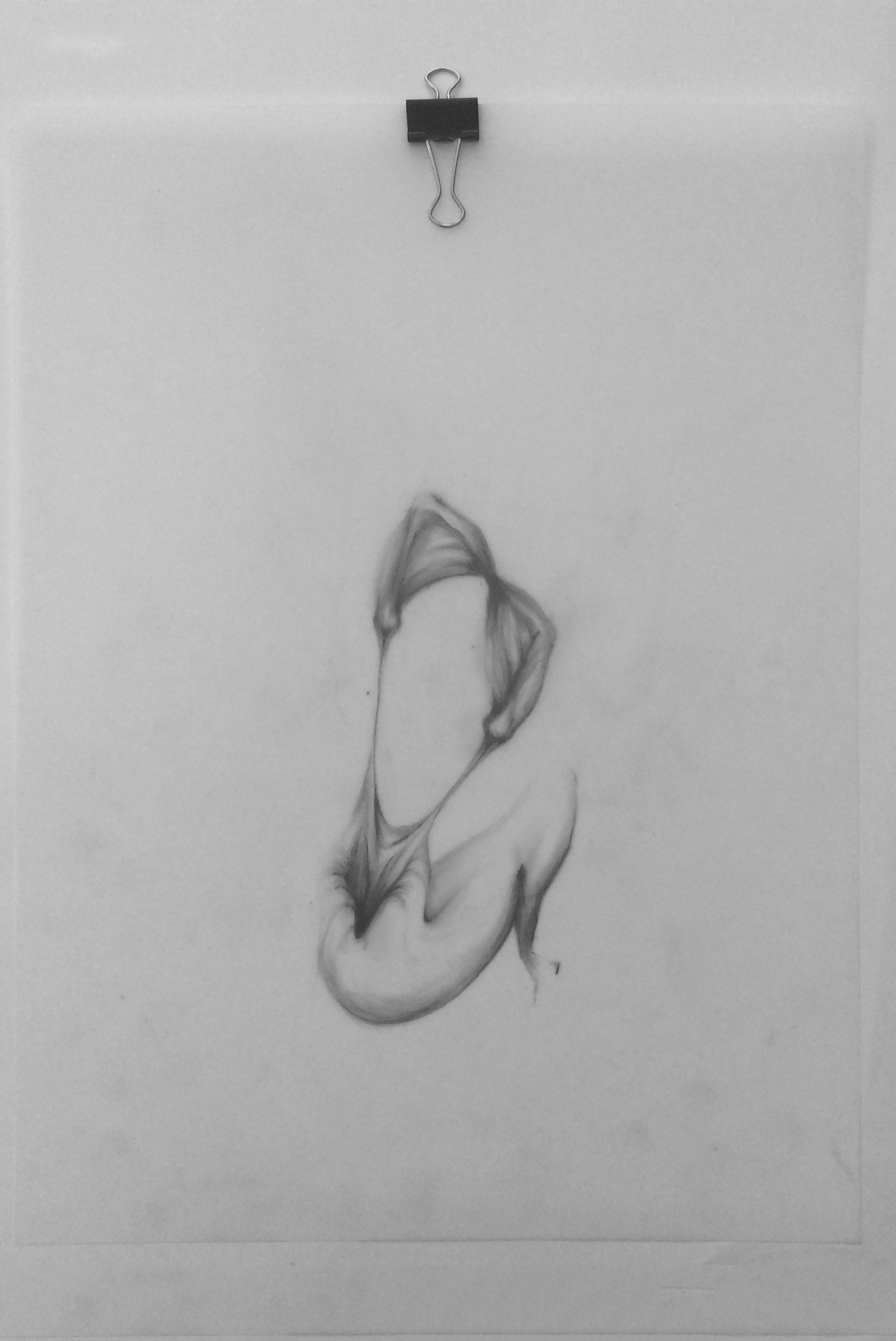 """Body 01, graphite on mylar, 9"""" x 12"""""""