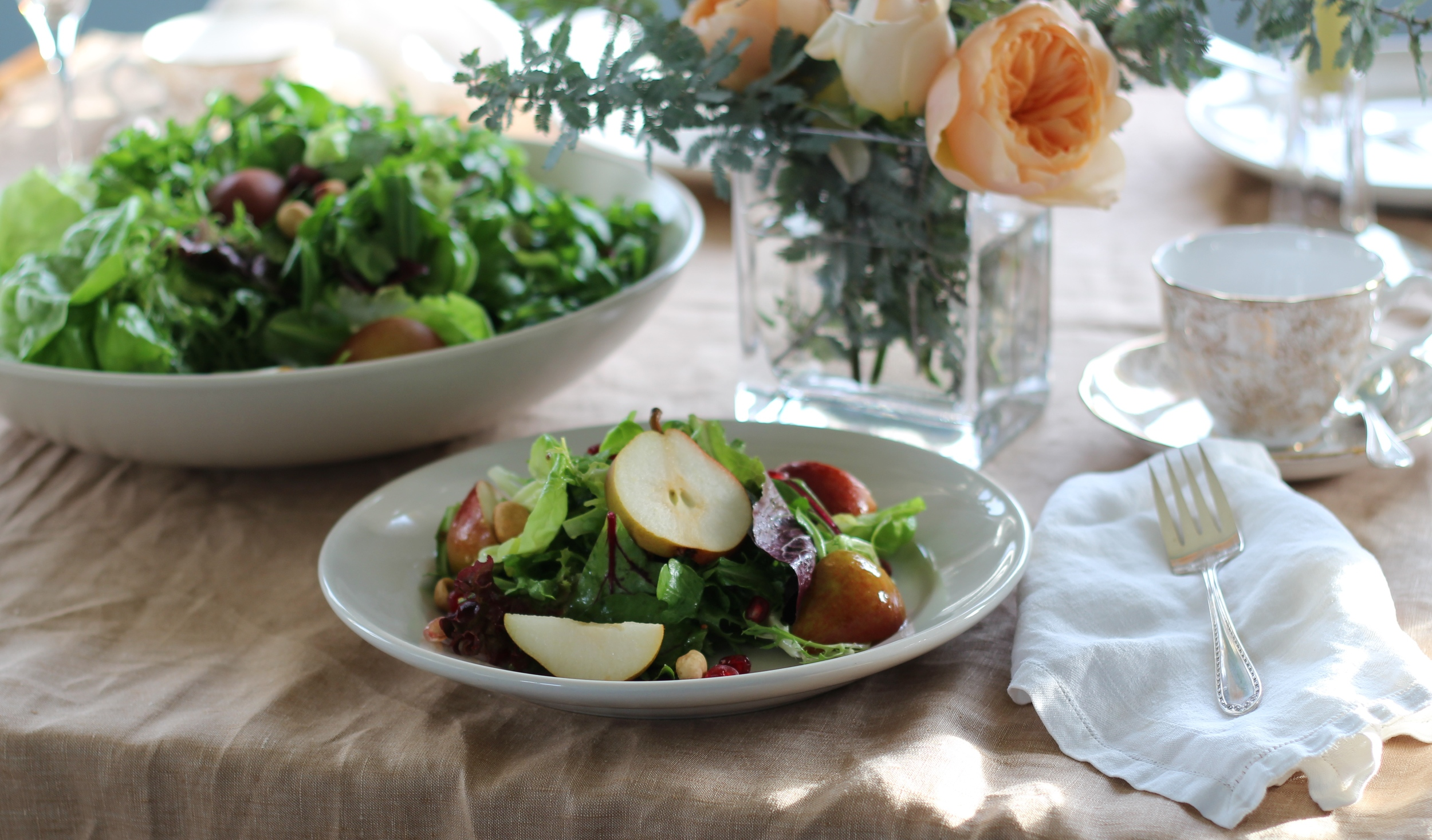 Utilizing the late autumn flavors of Oregon's Columbia Gorge pears, Willamette Valley hazelnuts and Rogue River Valley blue cheese, we have created a salad that can be beautiful for your Thanksgiving table, or any other occasion.