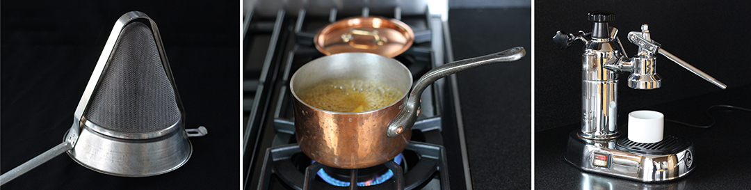 Chinois strainer, beloved copper pot, La Pavoni espresso machine