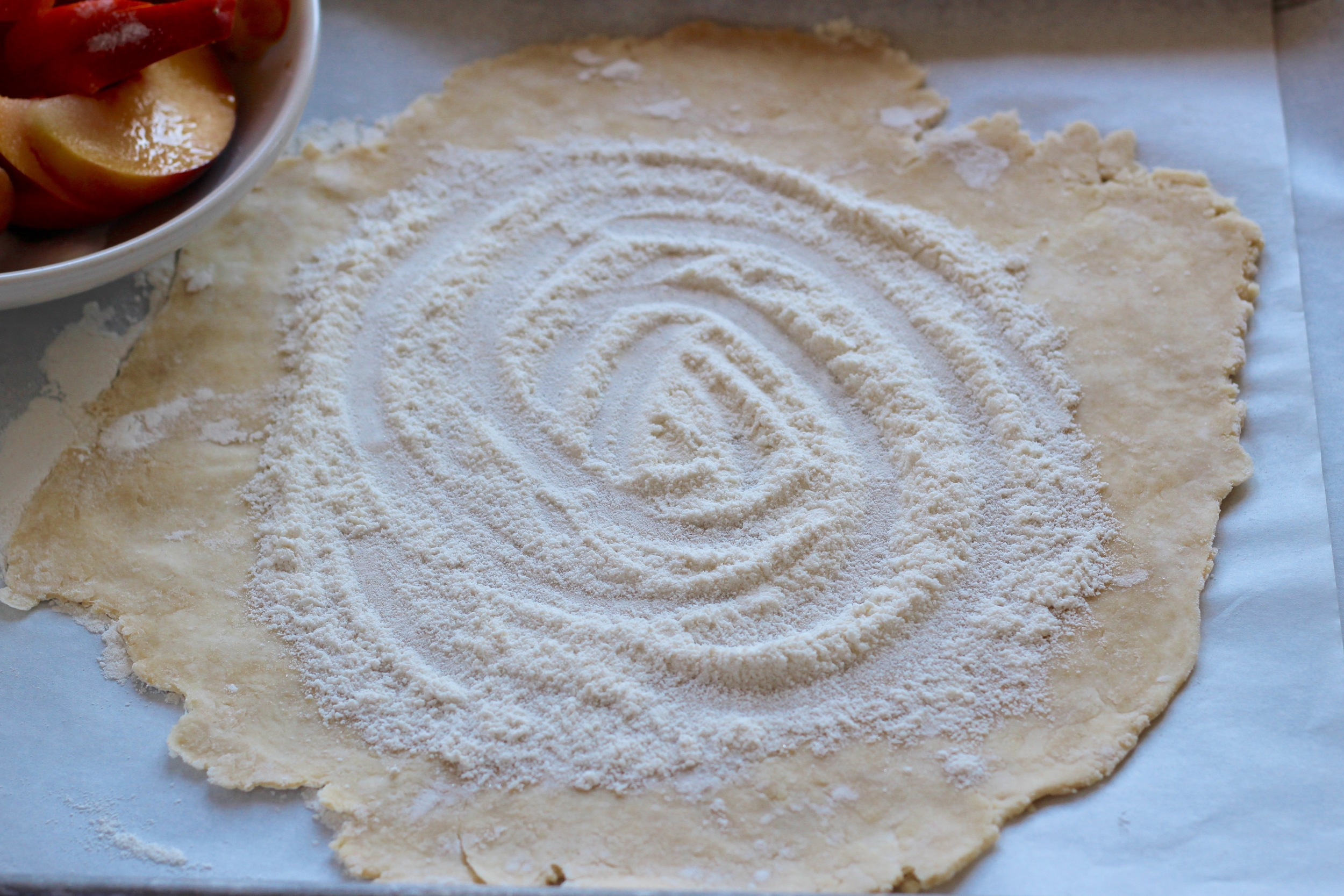 crostata dough with sugared flour on top | Recipe at ThreadandWhisk.com