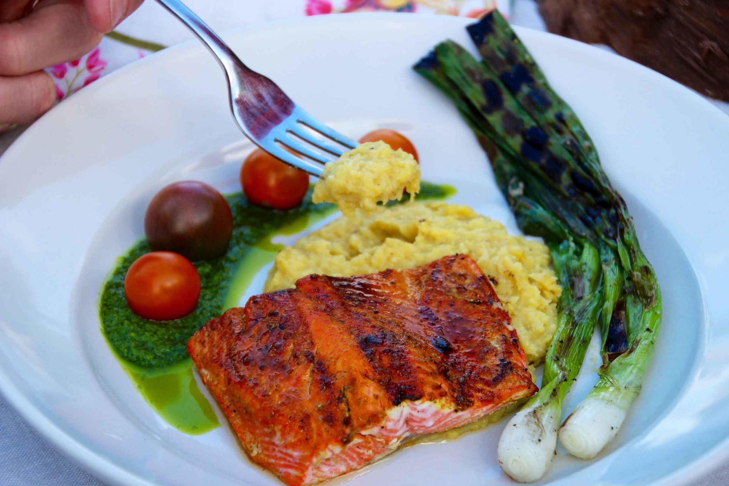 sockeye salmon, fresh polenta and basil oil recipes from Thread & Whisk