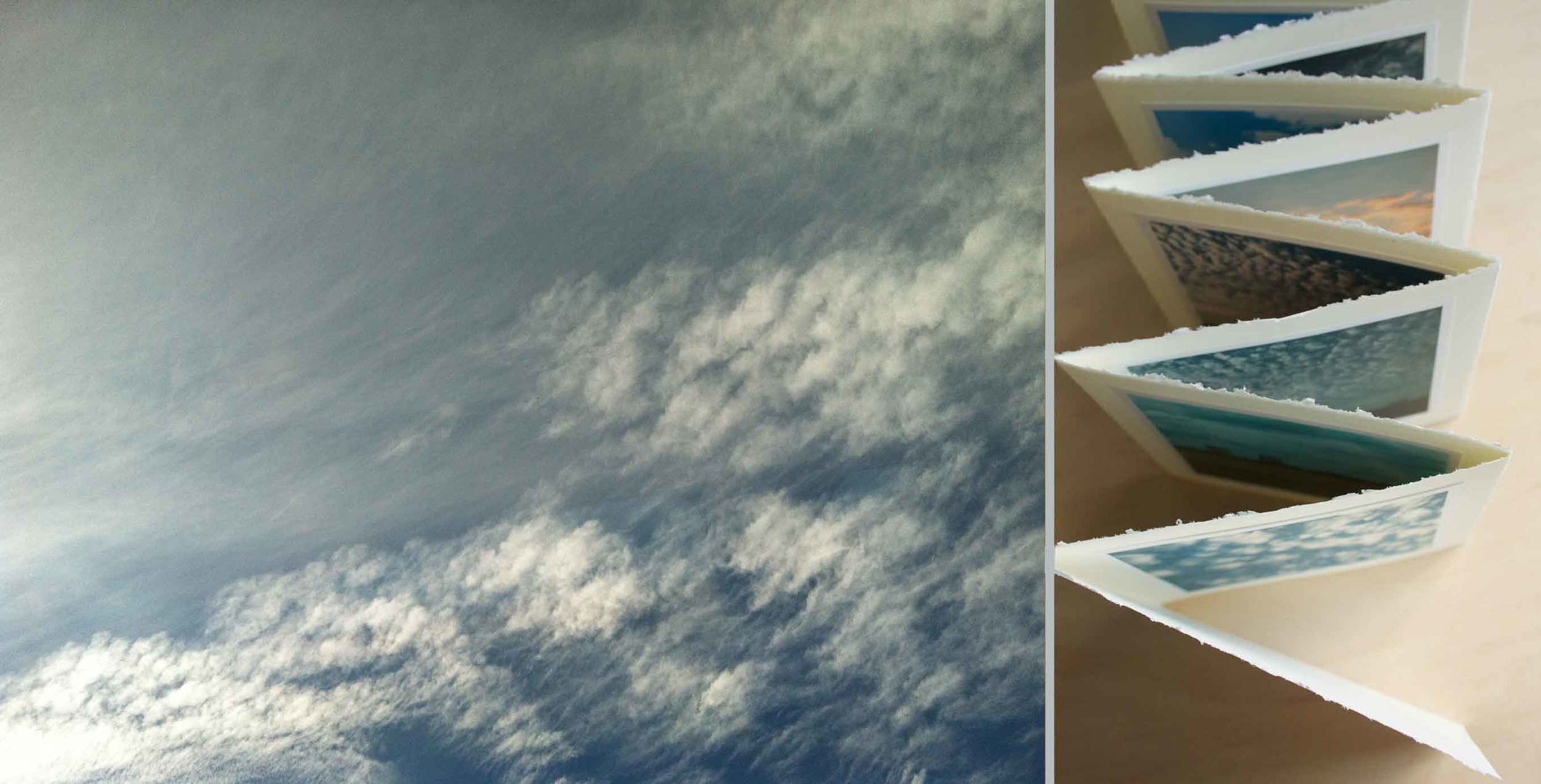 """Blurred clouds, cloud collecting, """"In the Clouds"""" handmade accordion photo book,  project by Thread & Whisk"""