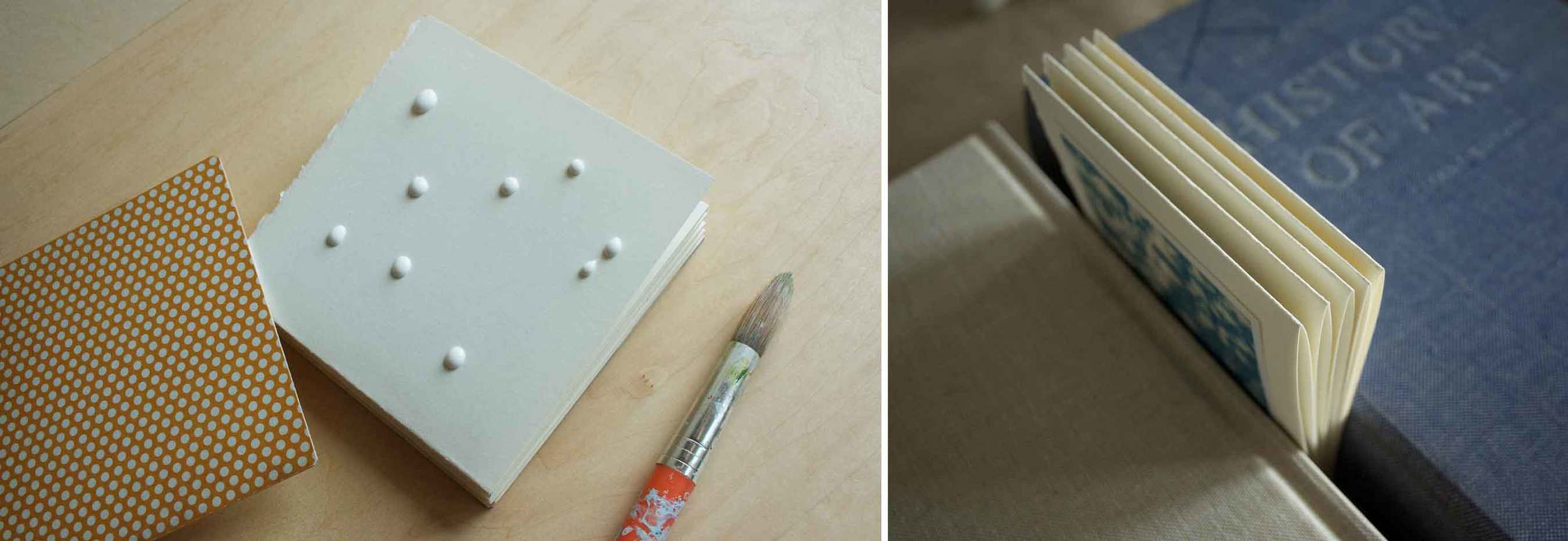 Gluing and pressing handmade accordion book, project by Thread & Whisk