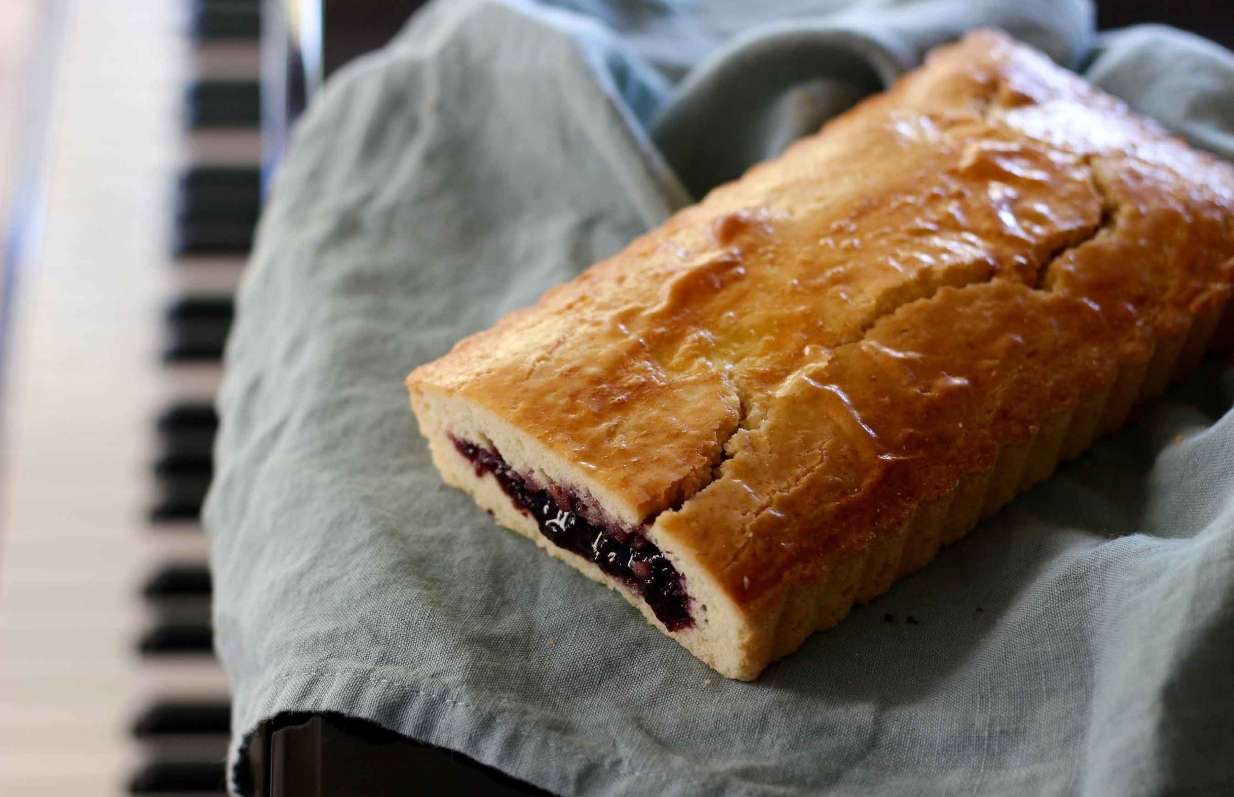 gâteau basque filled with black cherry preserves, recipe by Thread & Whisk