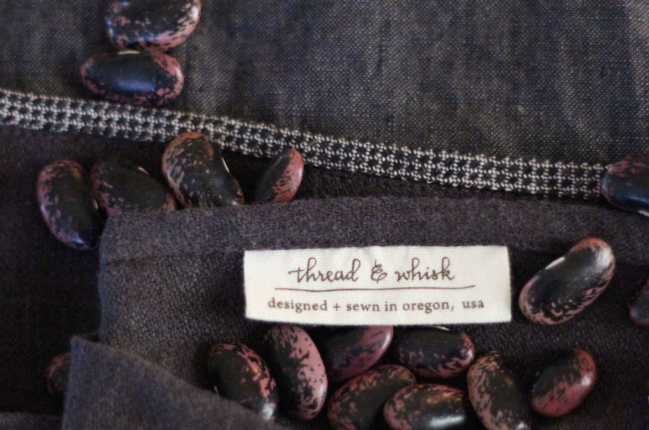 heirloom scarlet runner beans, Thread & Whisk label, brown linen, Monday red beans and rice recipe by Thread & Whisk