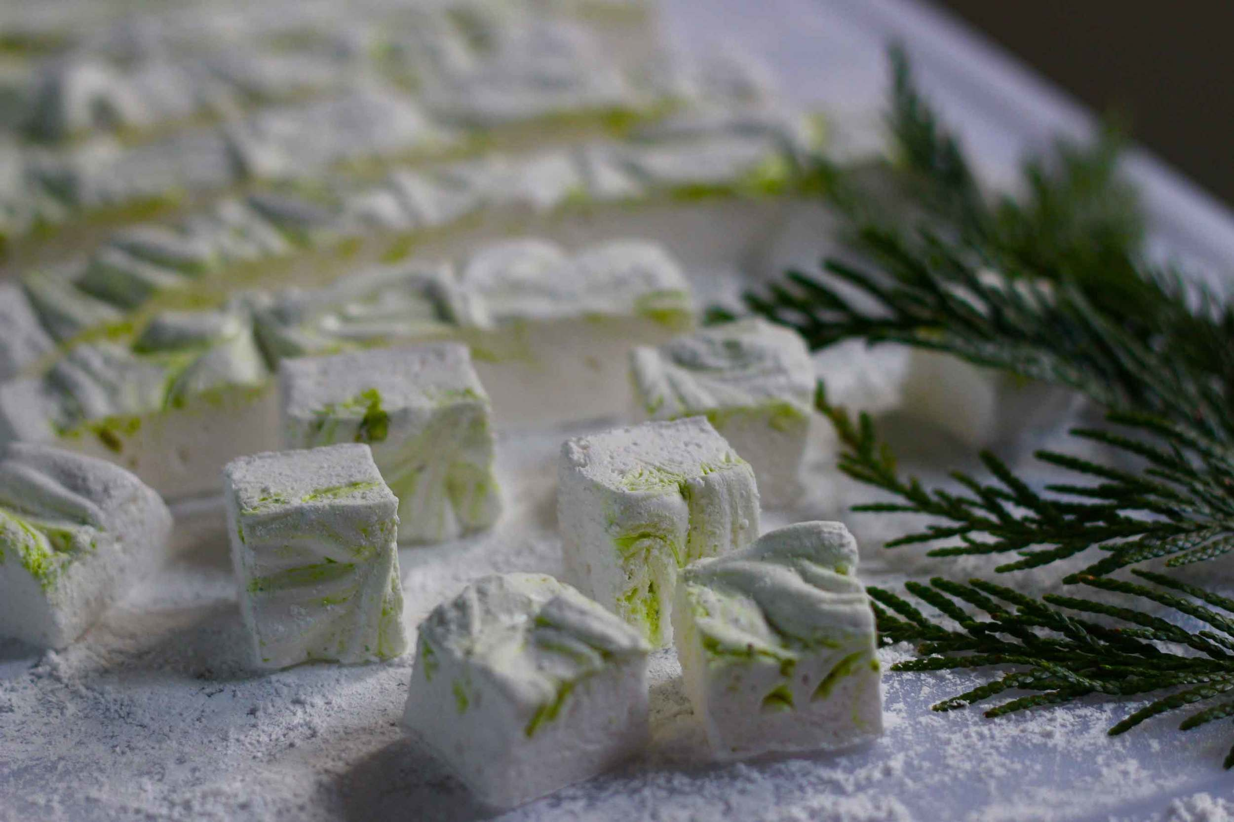 Homemade pistachio marshmallows, recipe by Thread & Whisk