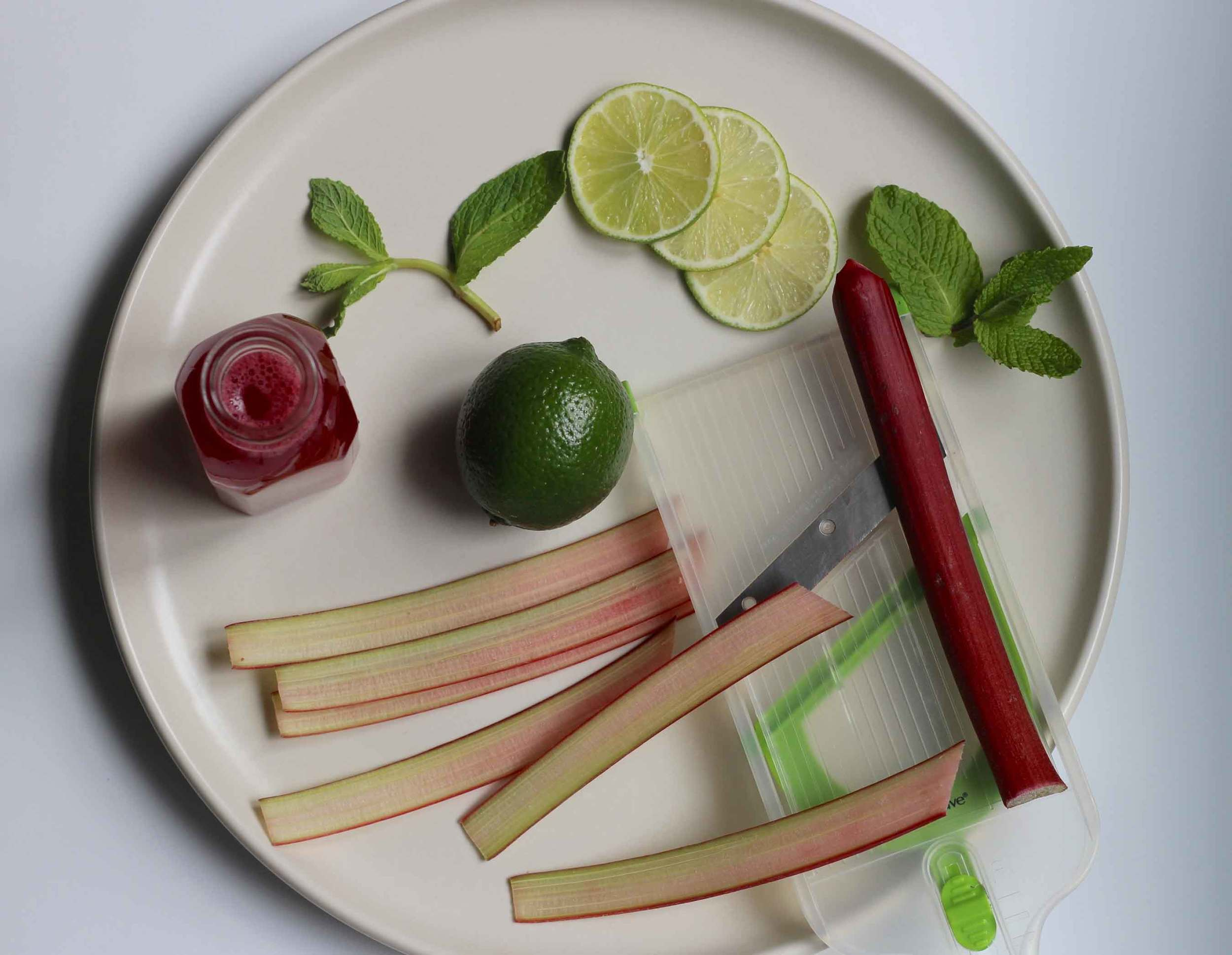 Rhubarb Mojito ingredients - perfect recipe for a Springtime party in the garden