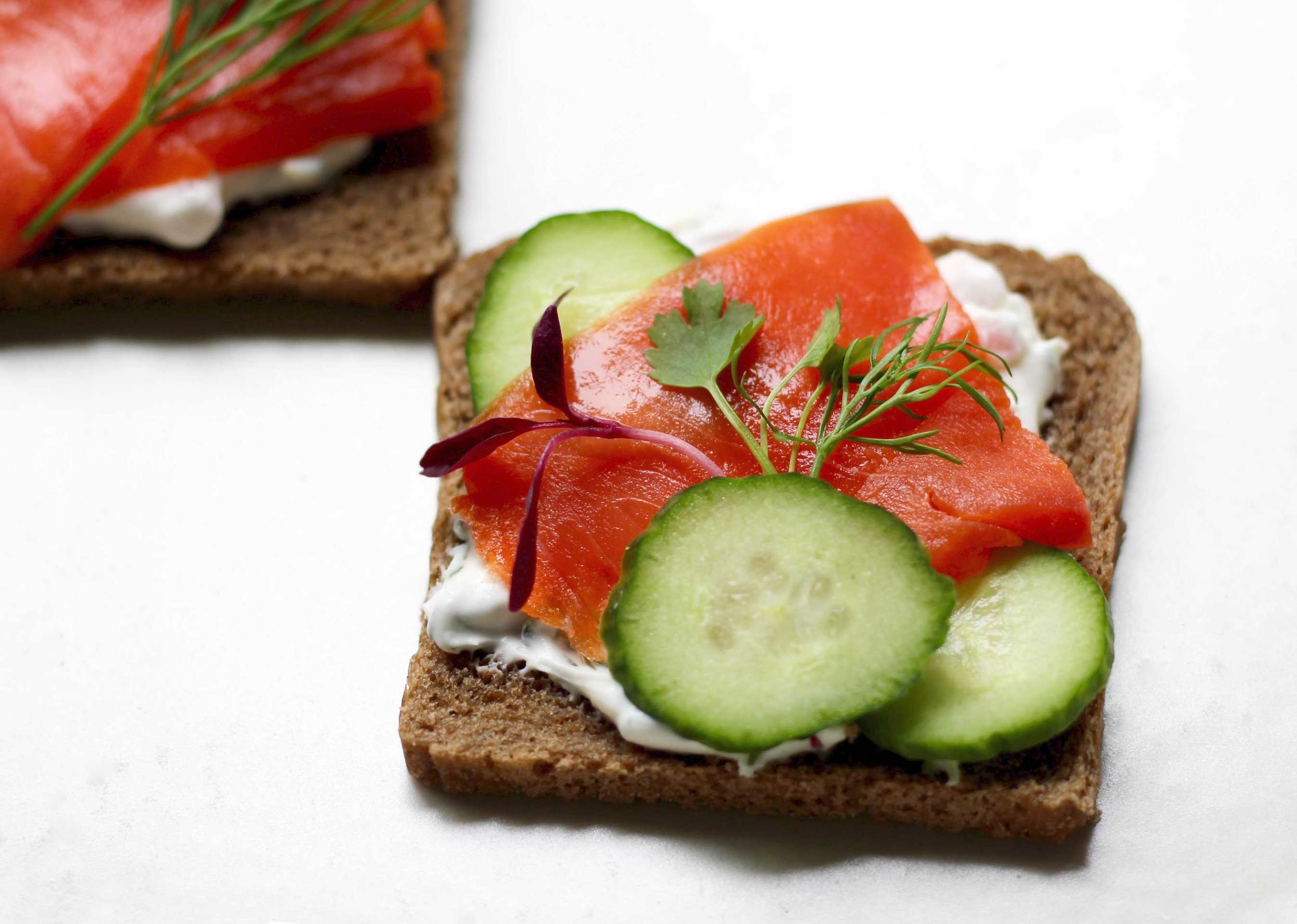 Salmon, cucumber, dill with creme fraiche canapes, great for a party