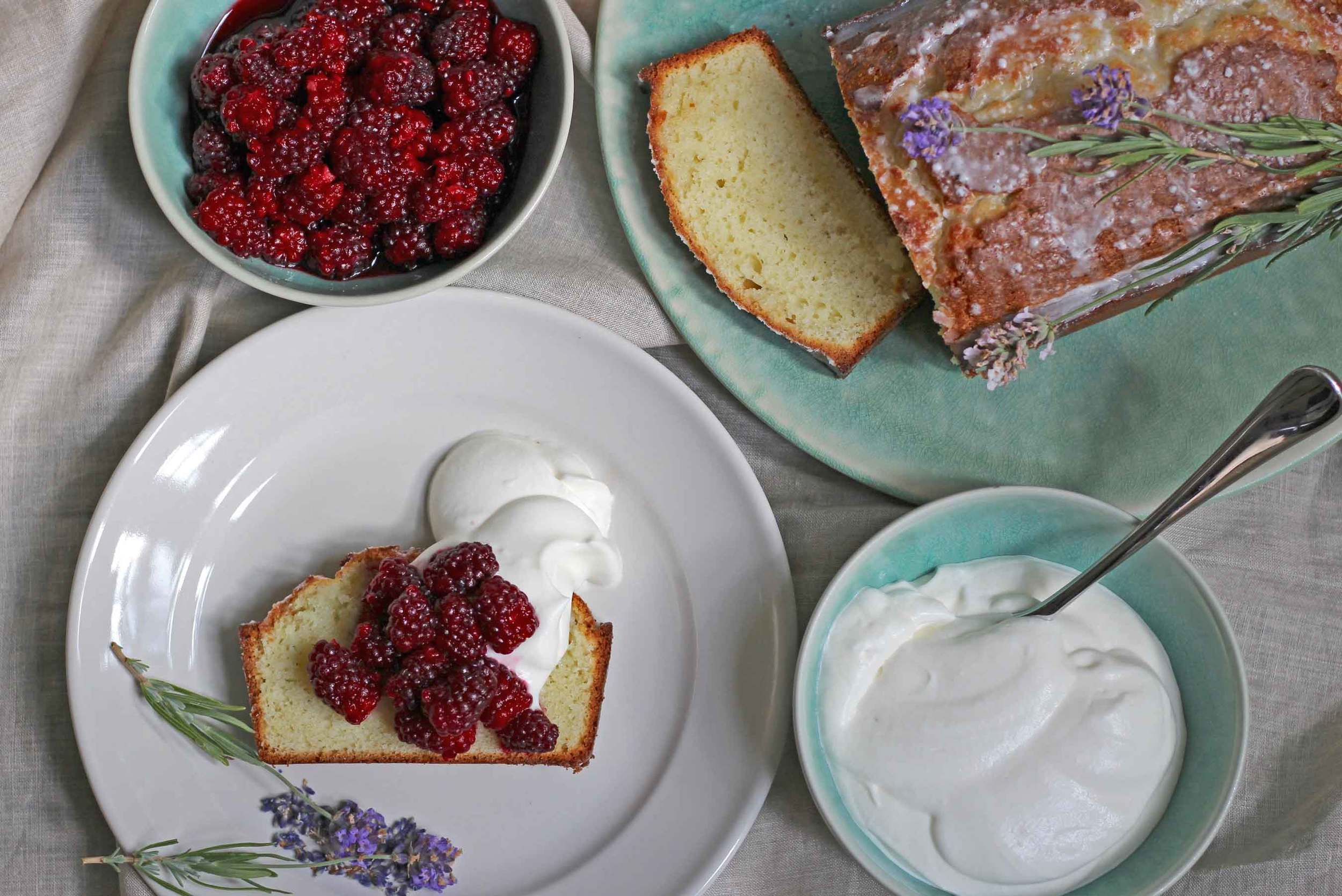 Components of Lavender Pound cake with Tayberries and Whipped Cream, recipe at Thread & Whisk blog