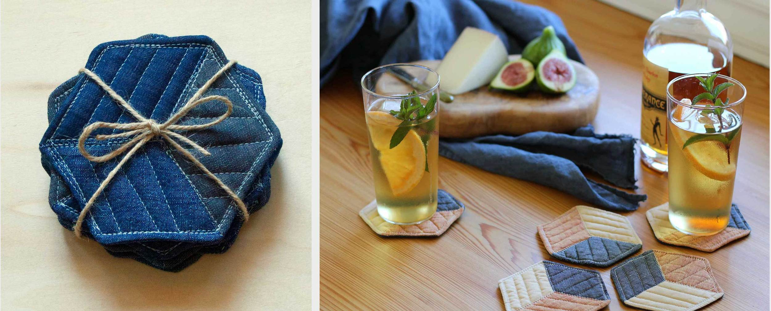 Handmade quilted coasters make a great gift and protect your table from those sweating cocktail glasses in summer.  Instructions to make them at Thread & Whisk