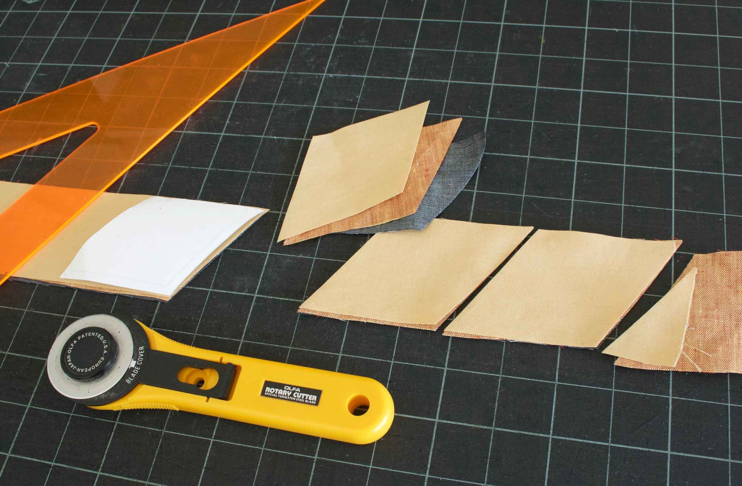 Cutting out quilter pieces for making quilted coasters, tutorial by Thread & Whisk