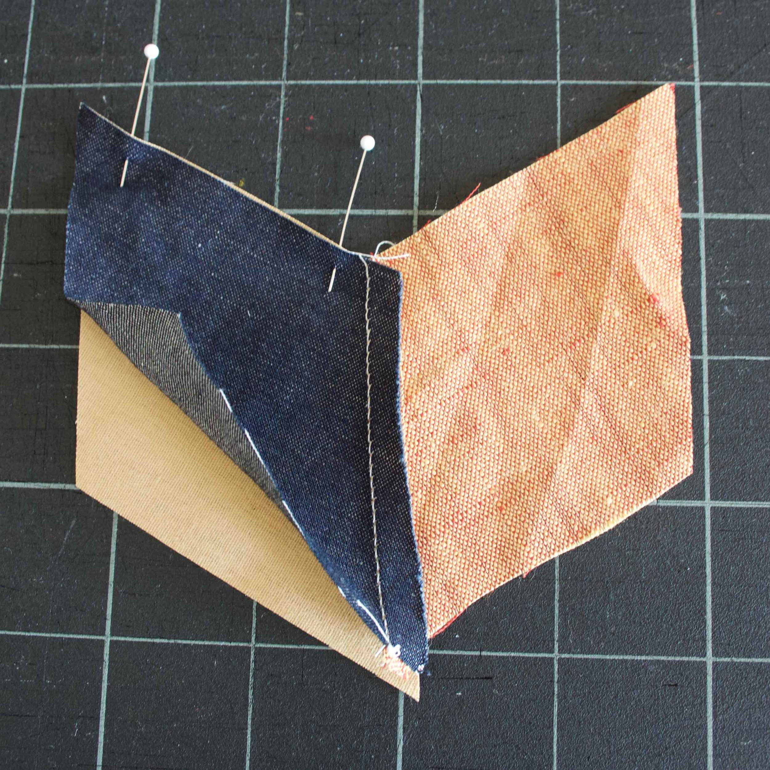 Pinned pieces to make a mini quilted coaster, tutorial at Thread & Whisk
