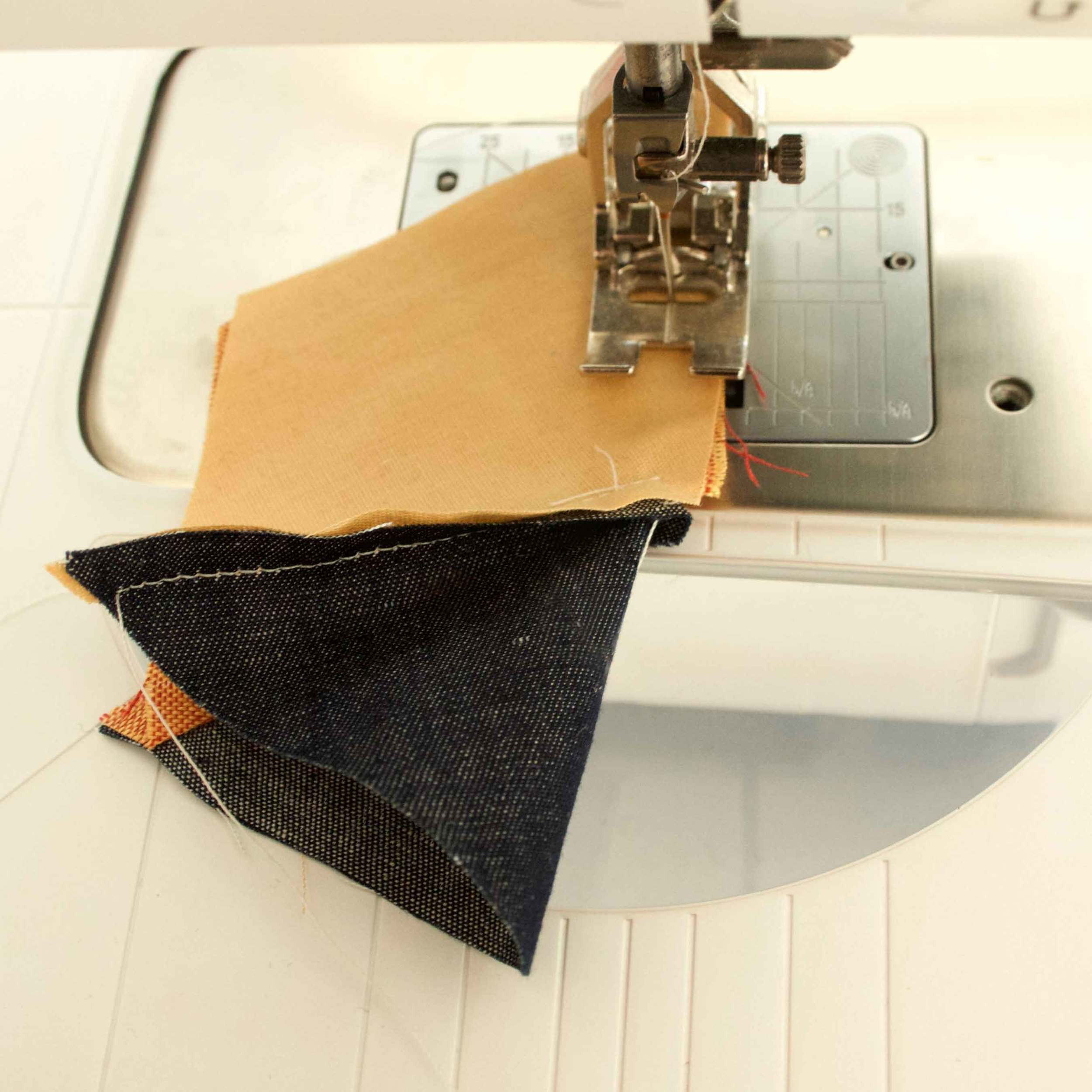 Sewing pieces for a quilted coaster, tutorial by Thread & Whisk