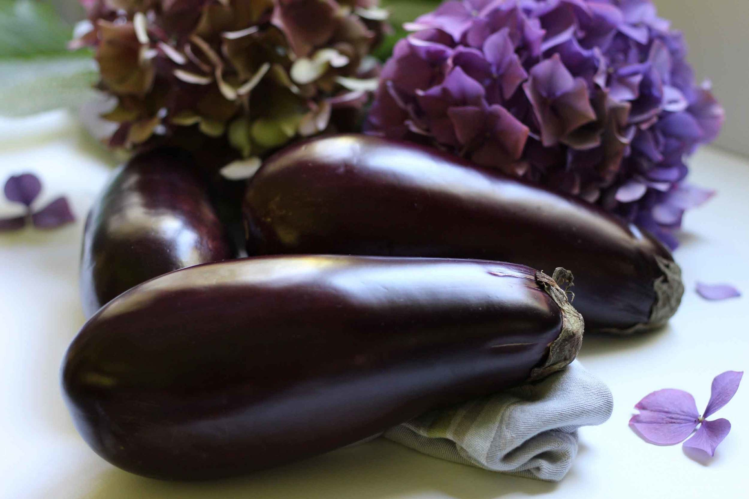 Eggplants, aubergines, hydrangeas
