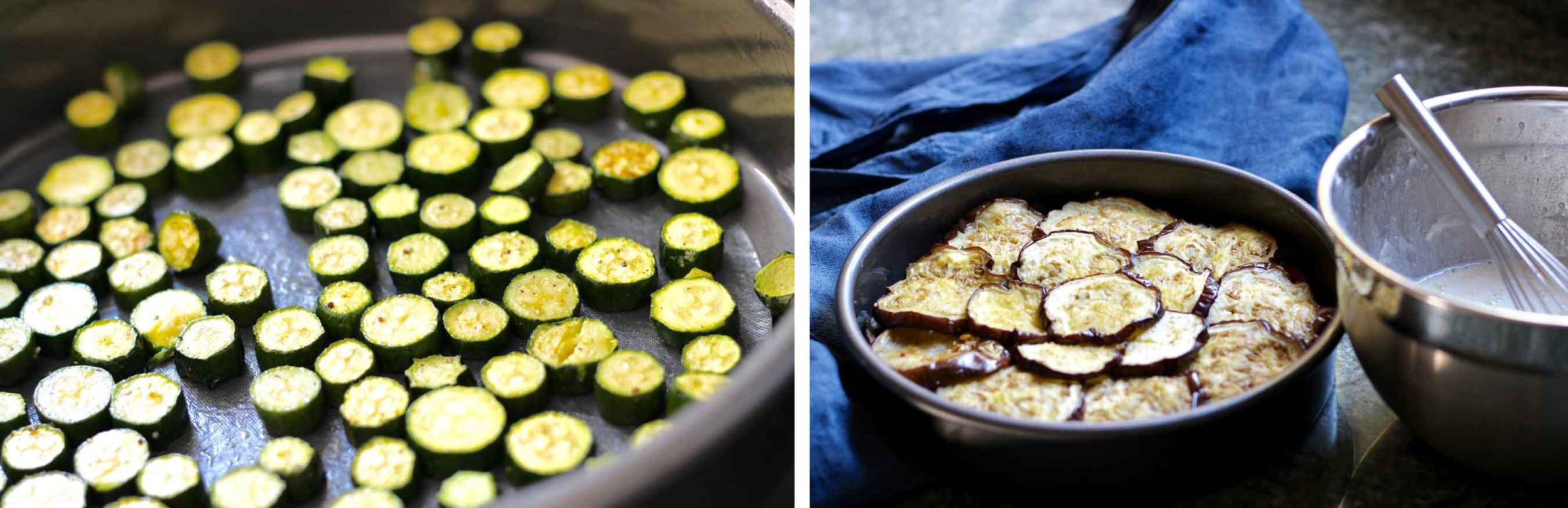 Making eggplant clafouti recipe by Thread & Whisk