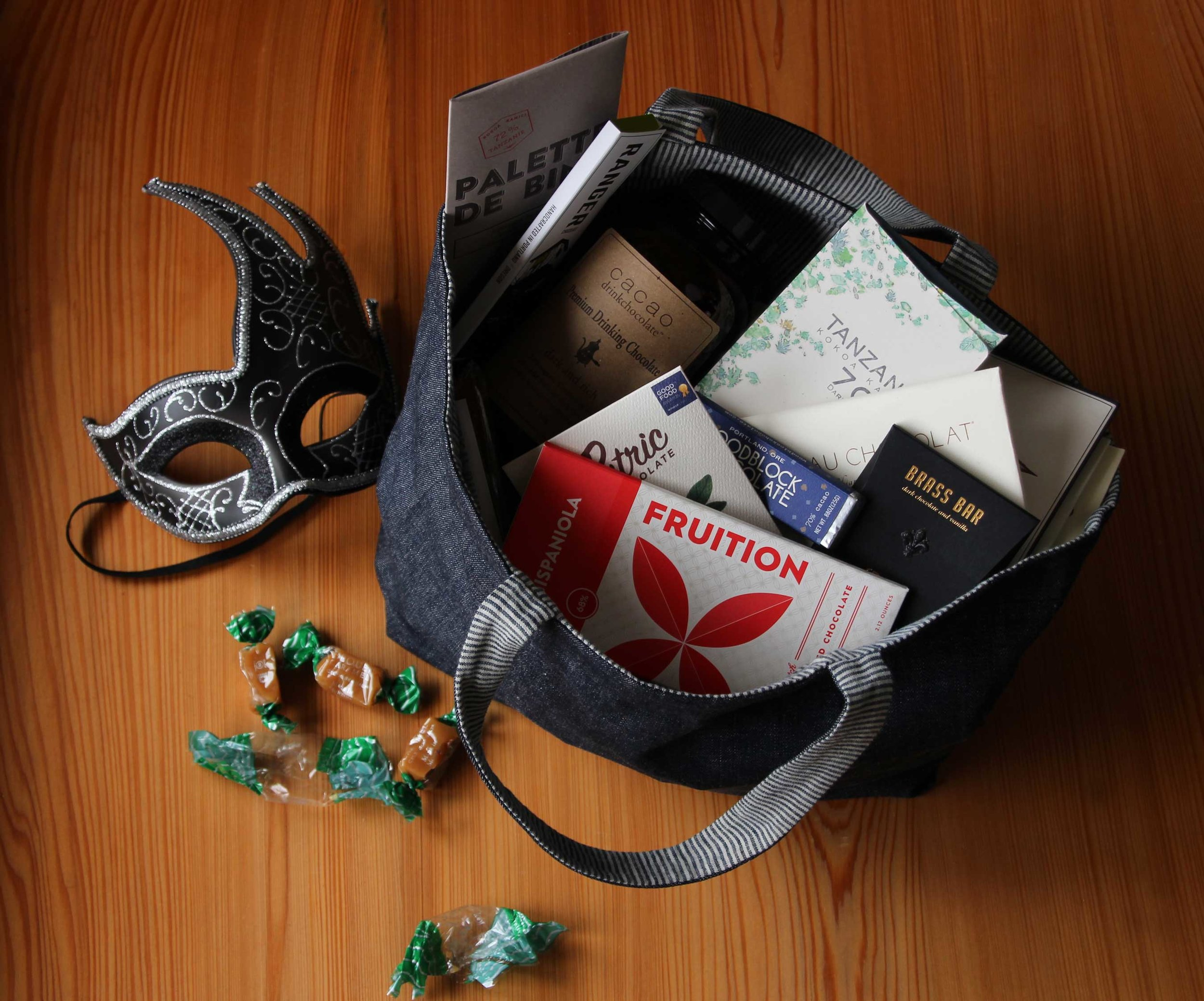 """Handmade denim tote bag filled with artisanal chocolates from our neighborhood Portland store, Cacao. The Béquet salted caramel bits were too good to pass up, so we didn't. Easy totebag """"make"""" tutorial at ThreadandWhisk.com"""
