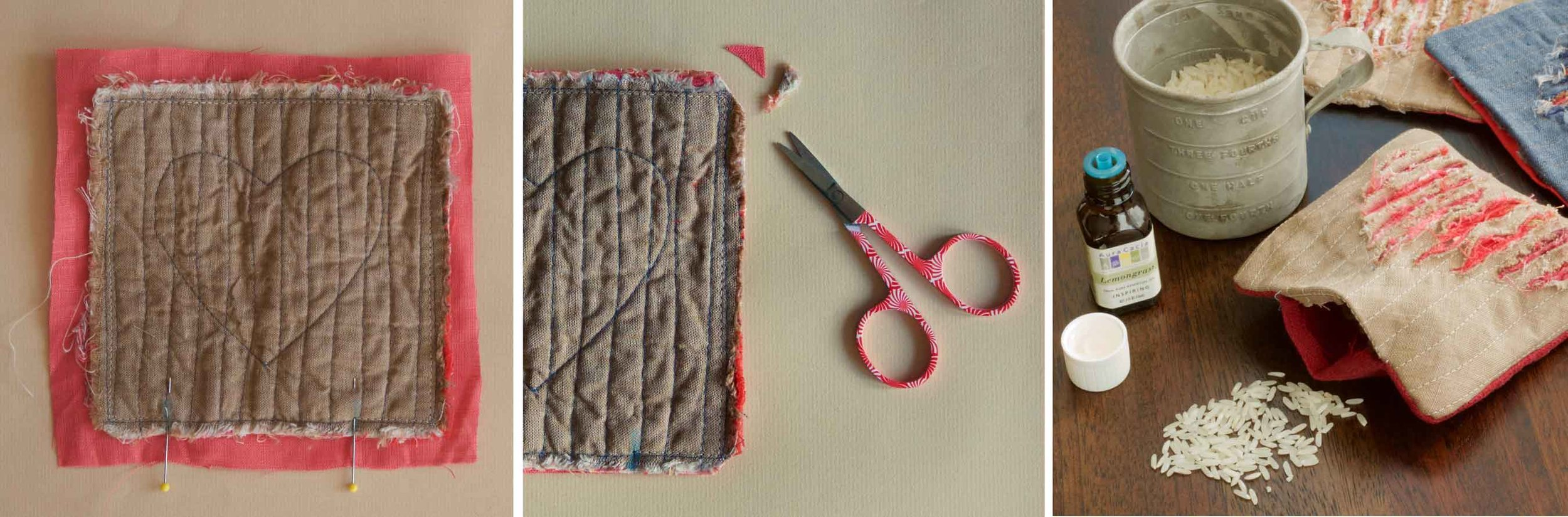 To complete the pillow, stitch the quilted fabric to a contrasting fabric, trim, snip corners and turn right side out. Scent a cup of rice with a favorite essential oil, stuff the pillow, and hand stitch it closed. Full instructions can be found at Thread & Whisk.