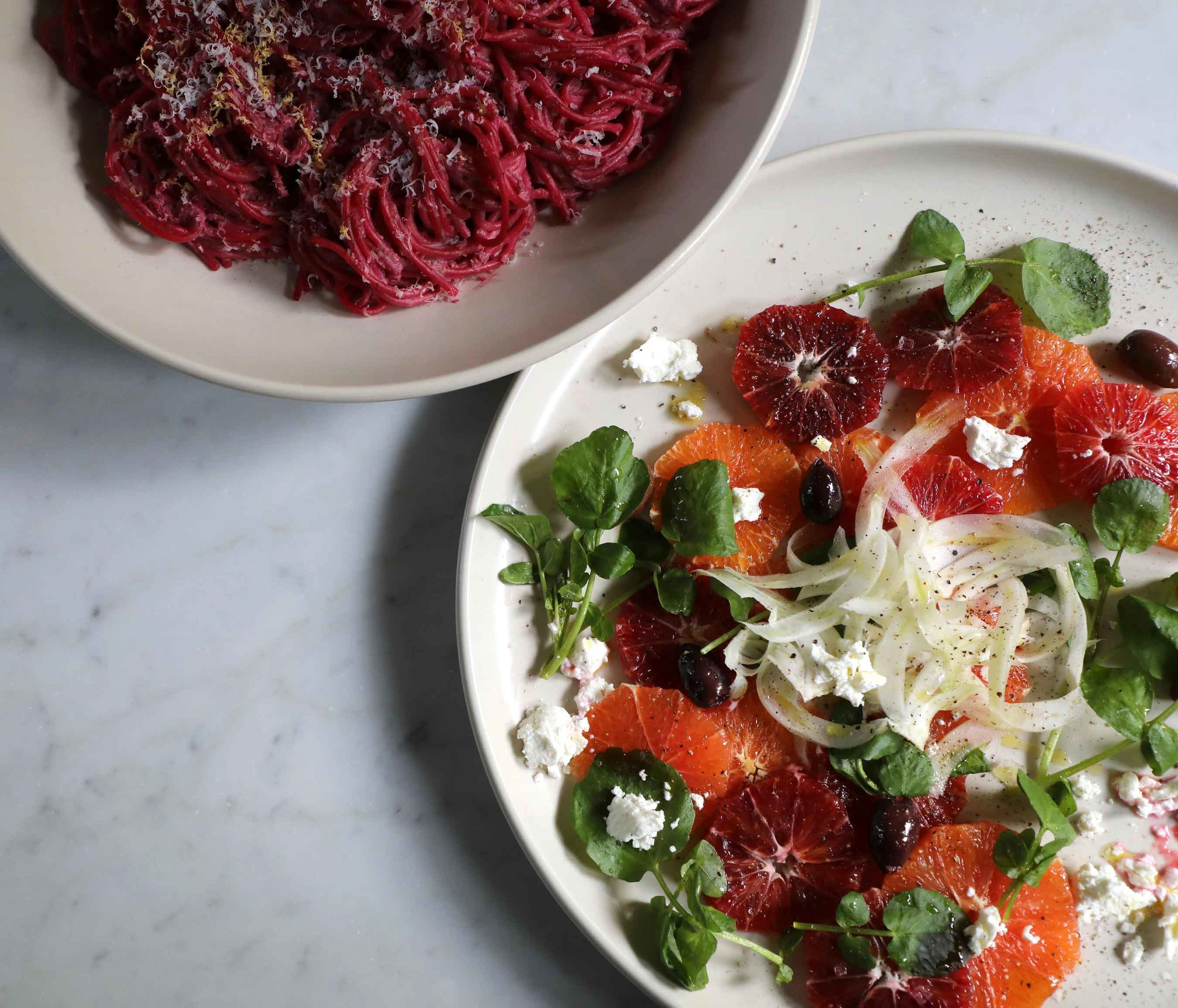 I made this salad of Cara Cara, blood orange, fennel, goat cheese, olives and watercress last night and it brightened my day as well as my family's meal!  It was so simple to make, but looked like a restaurant dish.  Try it!