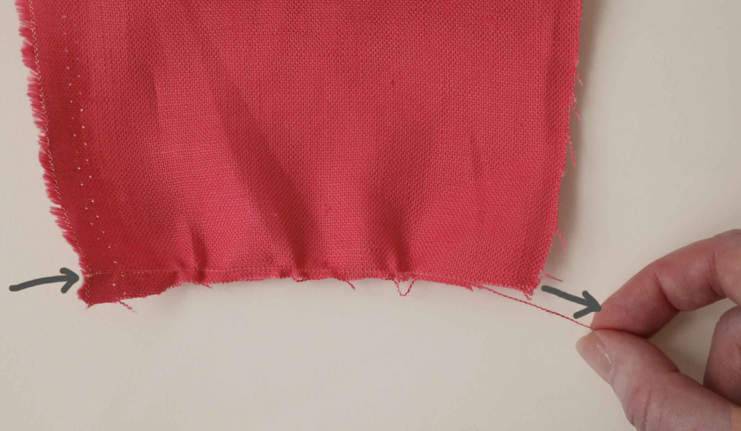 Pulling a thread in linen fabric is the best way to find what is square. This is important when lining up embroidery, as well as making napkins or anything else that you don't want to end up a trapezoid.