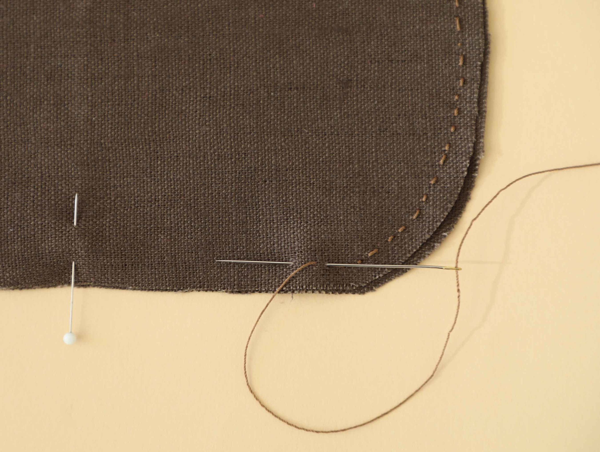 Backstitching is a simple and secure way to attach our japan-inspired pouch together. Stitch, turn and enjoy!