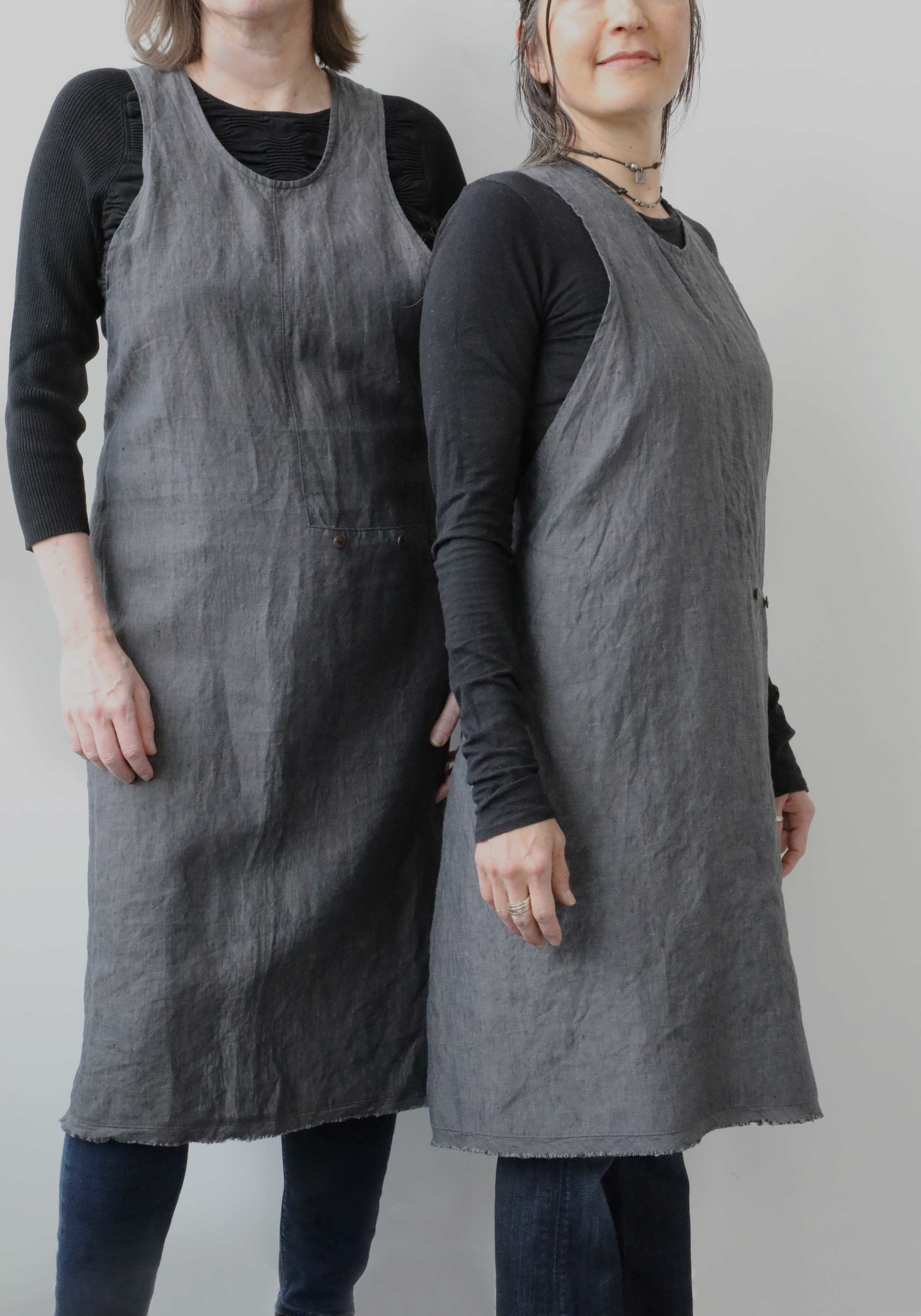 """Thread & Whisk's Grace Apron is now offered in a petite size, for those of us who are smaller in stature. Model at left is 5' 8"""", model at right is 5' 3""""."""