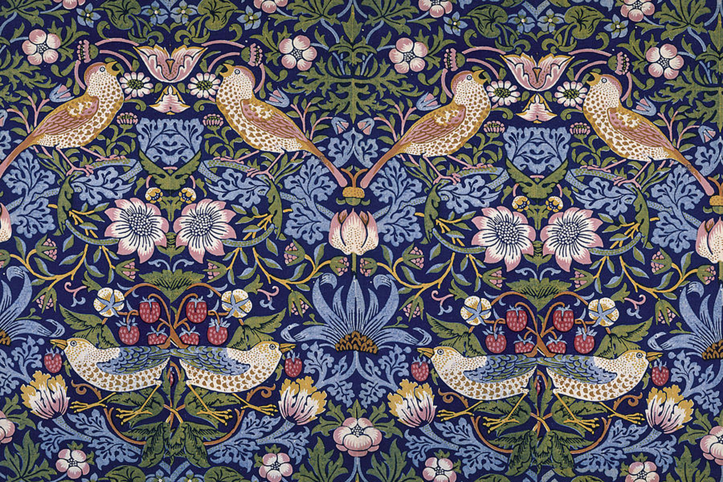 "The famous Liberty of London print, entitled ""Strawberry Thief"" created by William Morris in 1883"