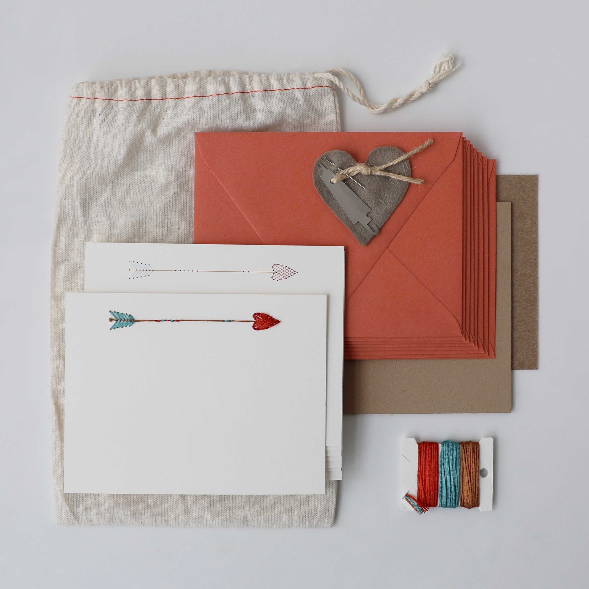 Love + Arrow Embroidered Greeting Card Kit $18