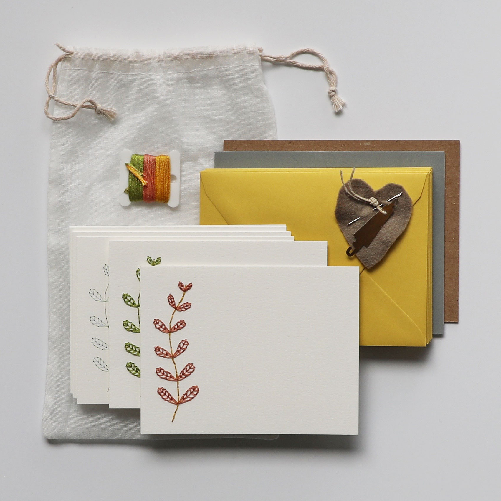 Playful Vines Embroidered Greeting Card Kit $18