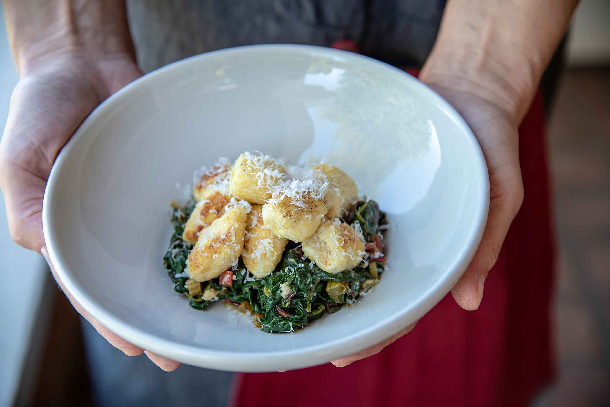 What welcomes Fall better than browned butternut squash and ricotta gnocchi atop a bed of sautéed rainbow chard?