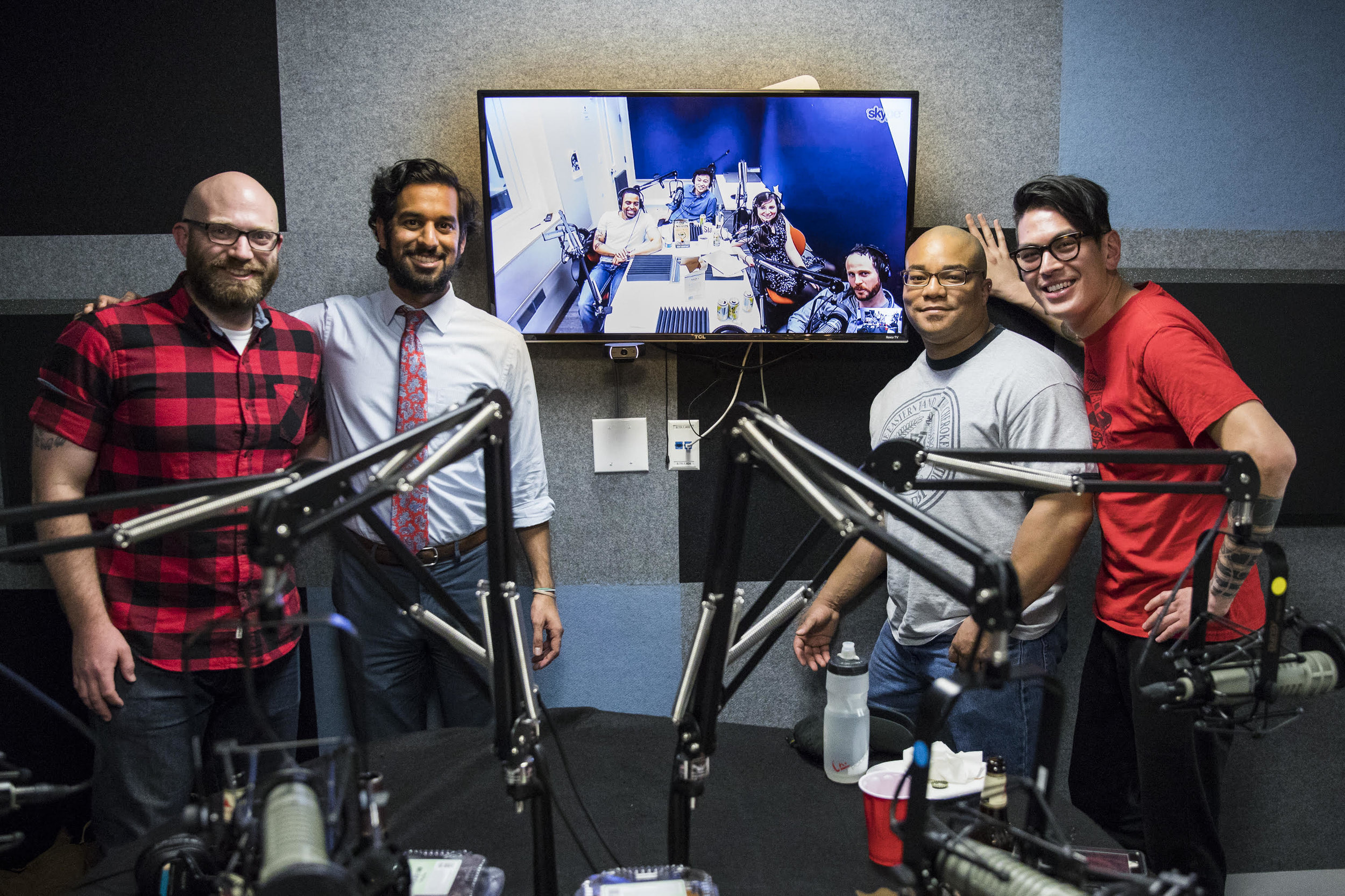 Sam, Nikhil, Rahsaan, and Eric in Panoply's DC studio, and on the big screen is Ryan, Z., Andrea, and Terrence in NYC.