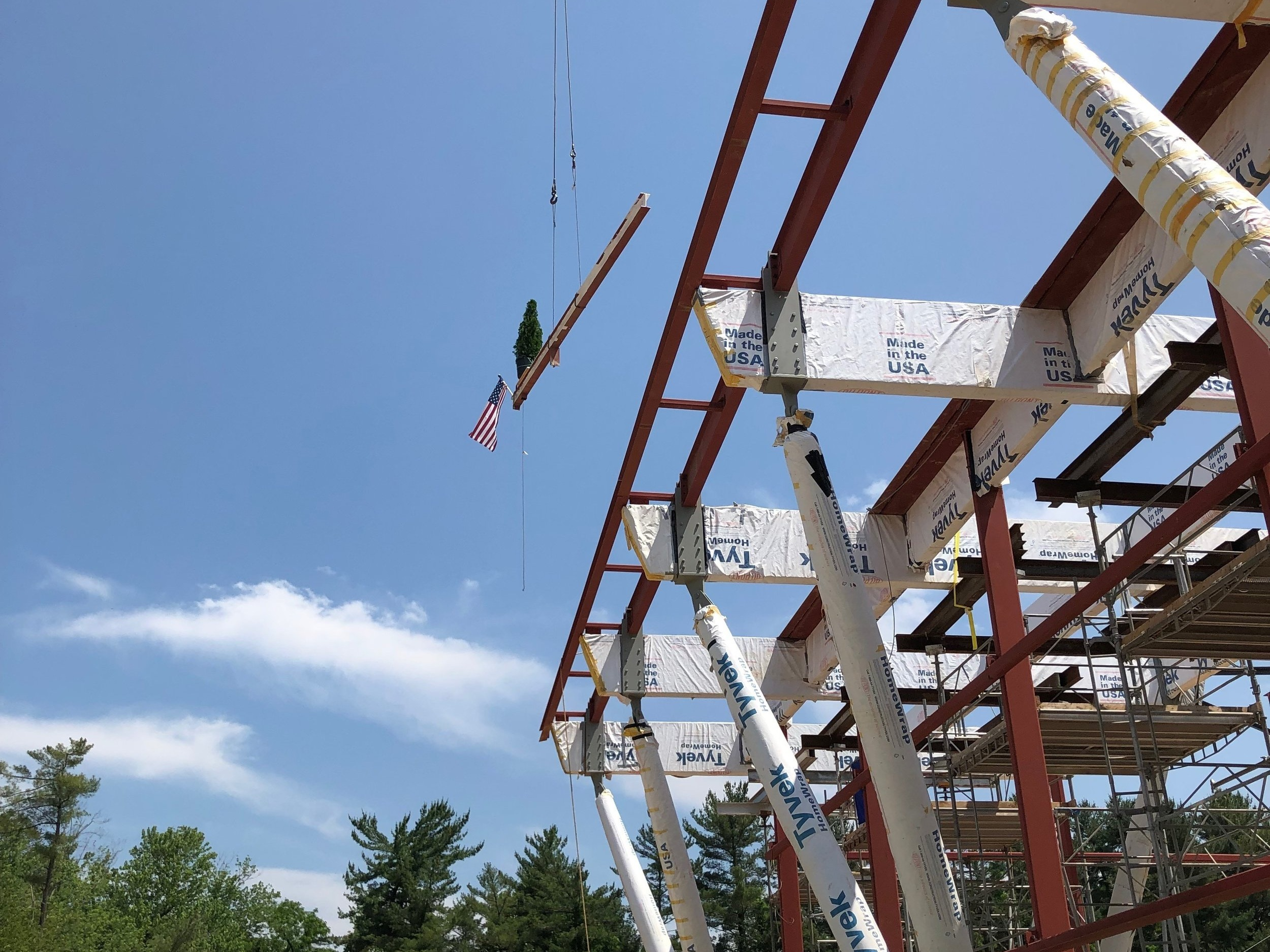 Our project team looked up as the last steel beam was placed upon the structure, the marking of a milestone. - Over 225 tons of steel were used for the new Center for Athletics and Community and we have worked over 25,764 hours to date.