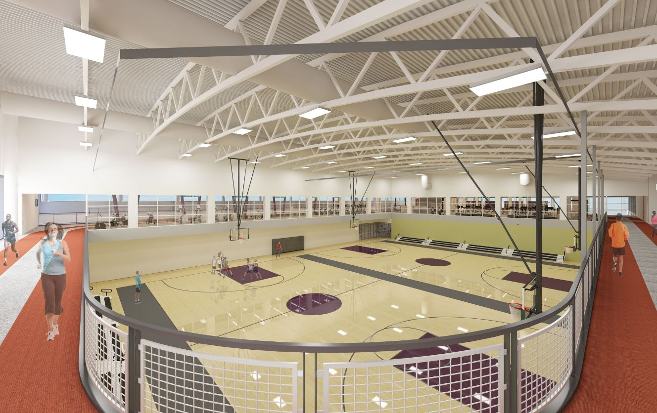 The new facility will feature a running a track on the second floor with a view of the basketball court. (Photo Credit: Hughes Group Architects)