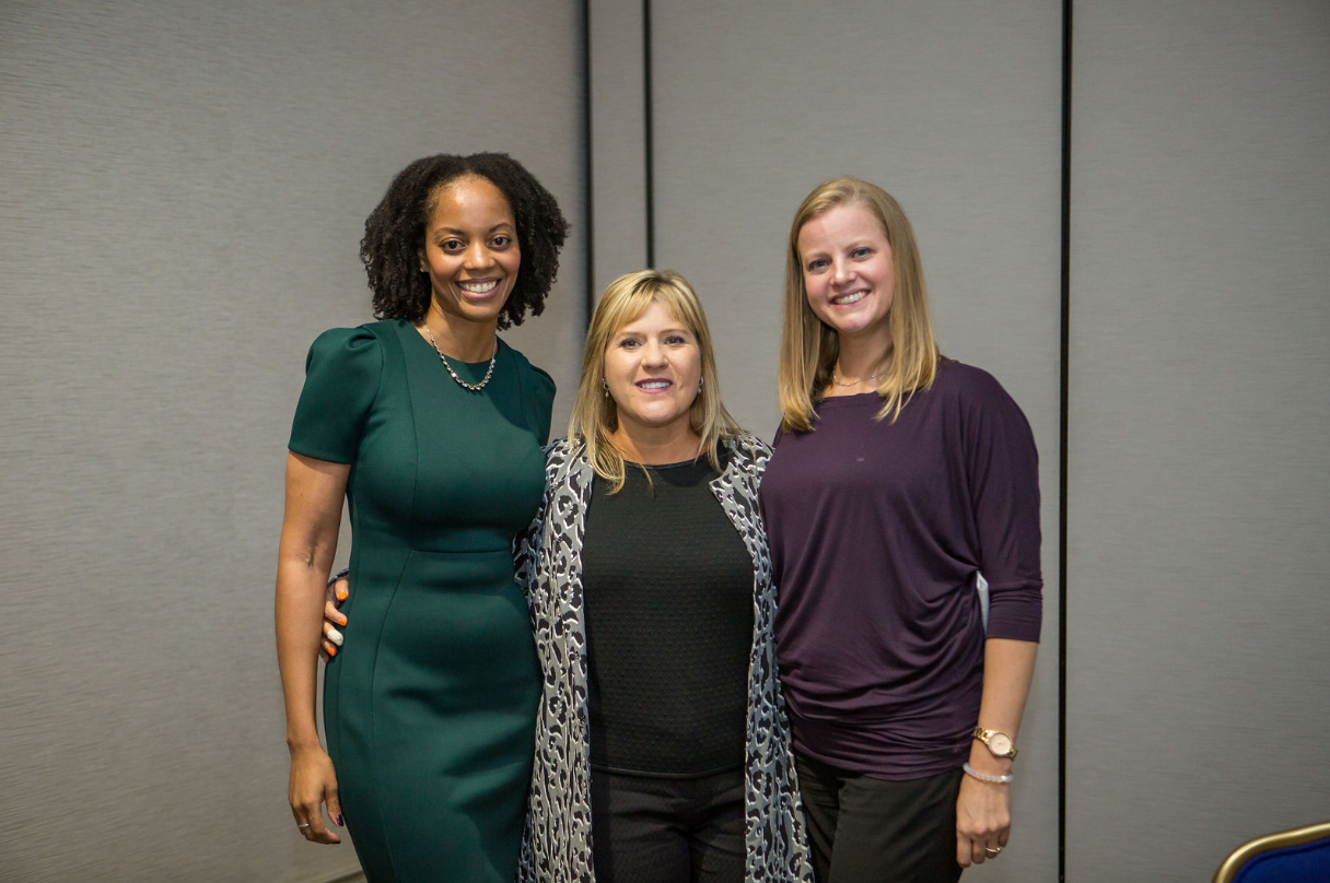 (Left to right) Christine Sanni, ConservGreo Corp, Barbara Price, Coakley & Williams Construction, and Lynn Maia, Clune Construction Company (Photo Credit: Kea Dupree)