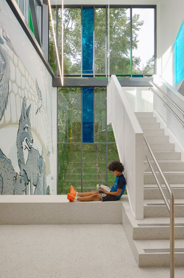 Bancroft Elementary School's North stair view into Rock Creek Park brings the outdoors in.