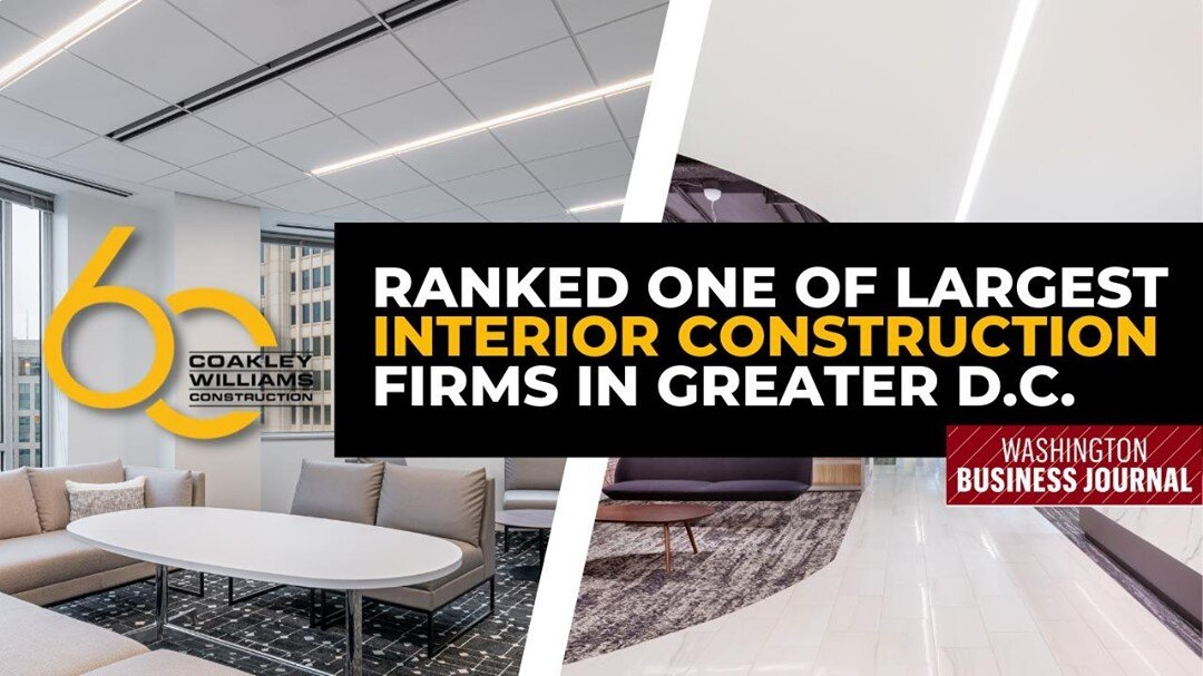 We are proud to build Greater Washington DC's interior spaces. Thank you, Washington Business Journal! https://buff.ly/3icRvja