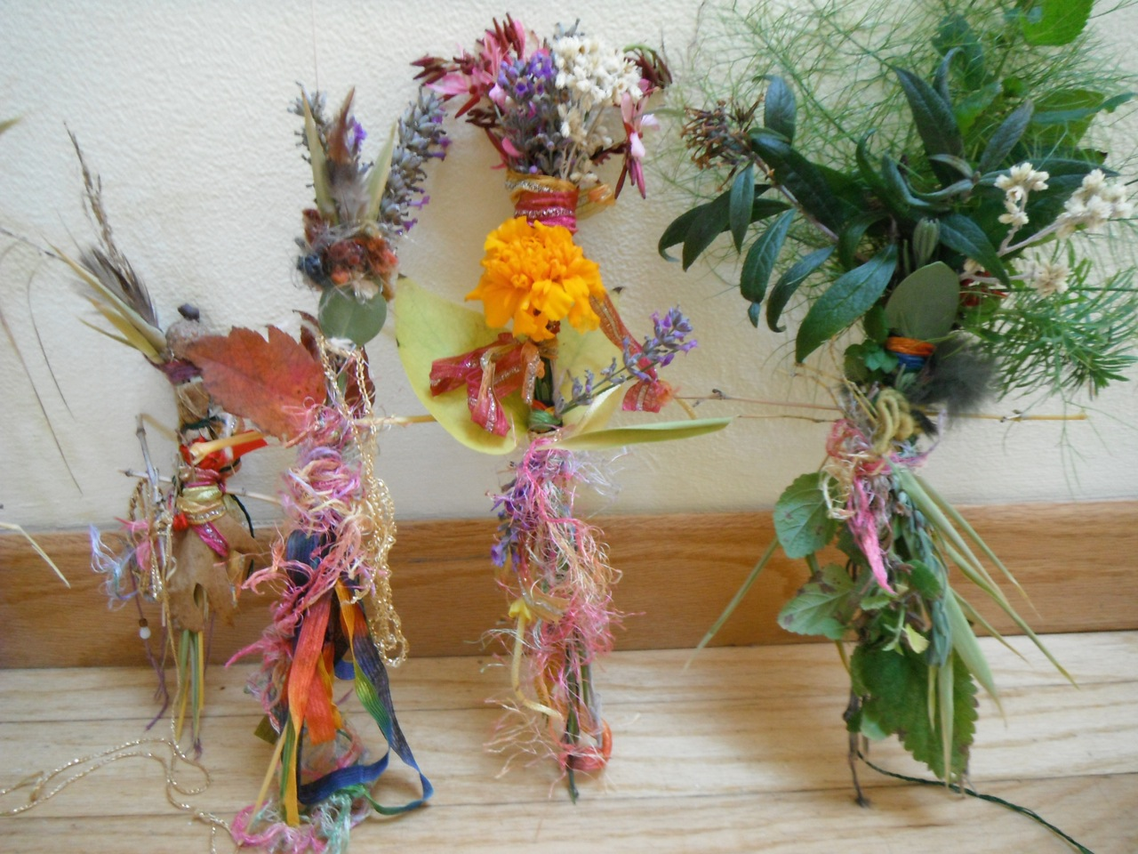 Flower Fairy Dolls created from flowers and yarn