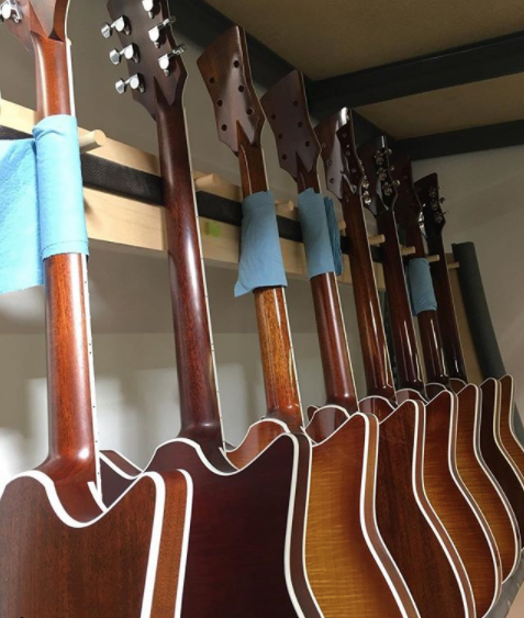 A gaggle of guitars in various stages of assembly! A few of these beauties will be on display at #namm2018 Stop by booth 4310 to check 'em out!