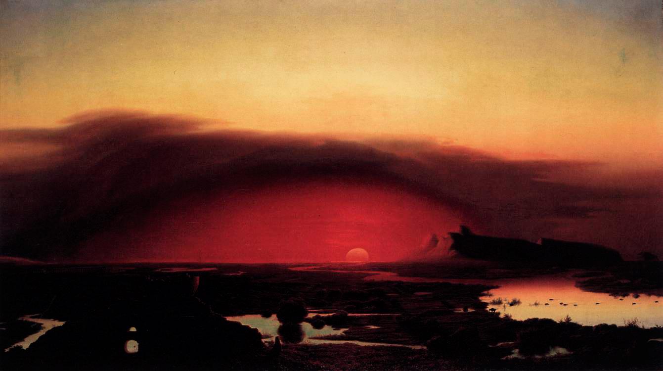 August Kopisch,  Solnedgång i pontinska träsken , Olja på duk, 1848
