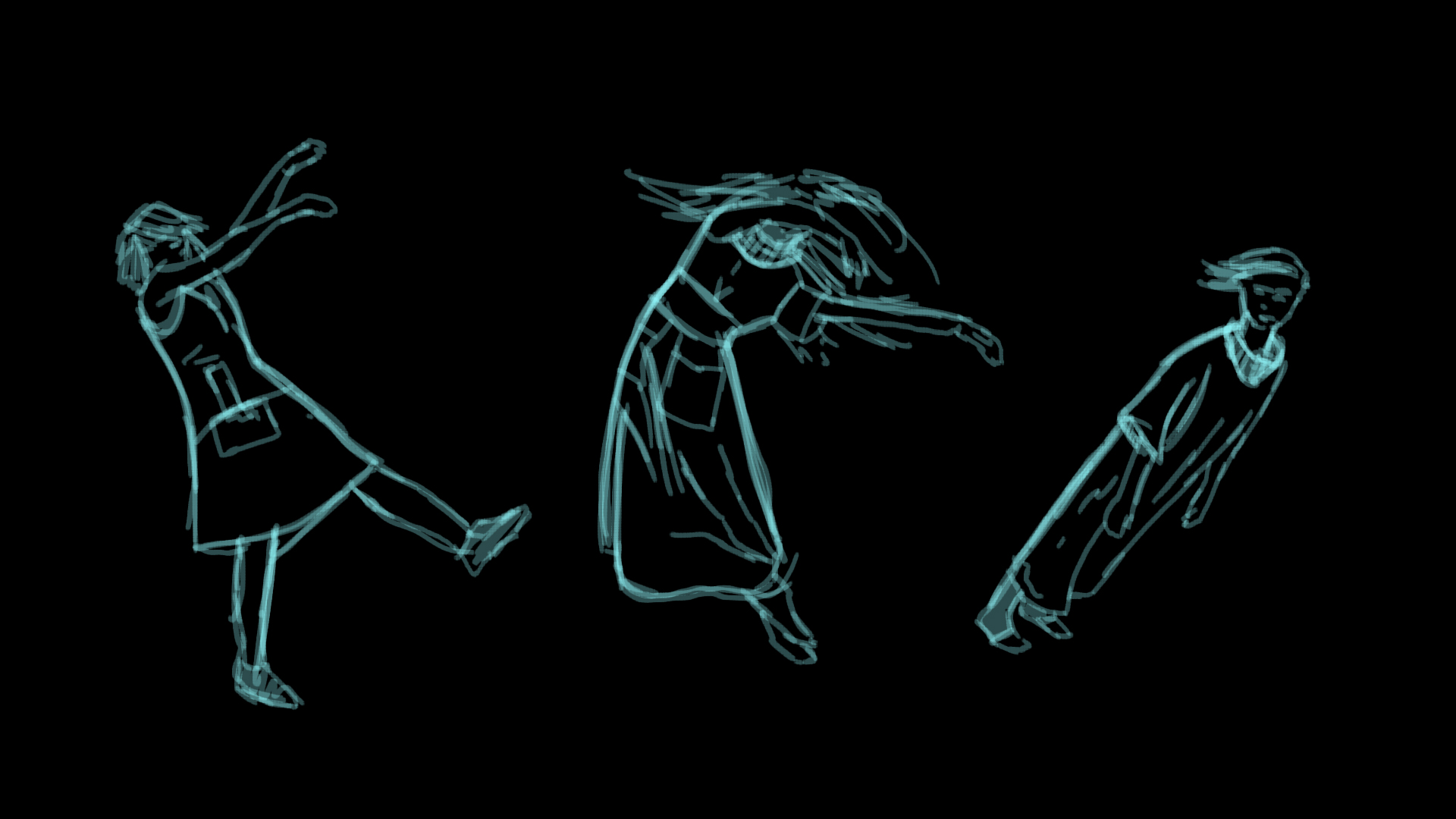 Sketching out the movement and playfulness of our main character.