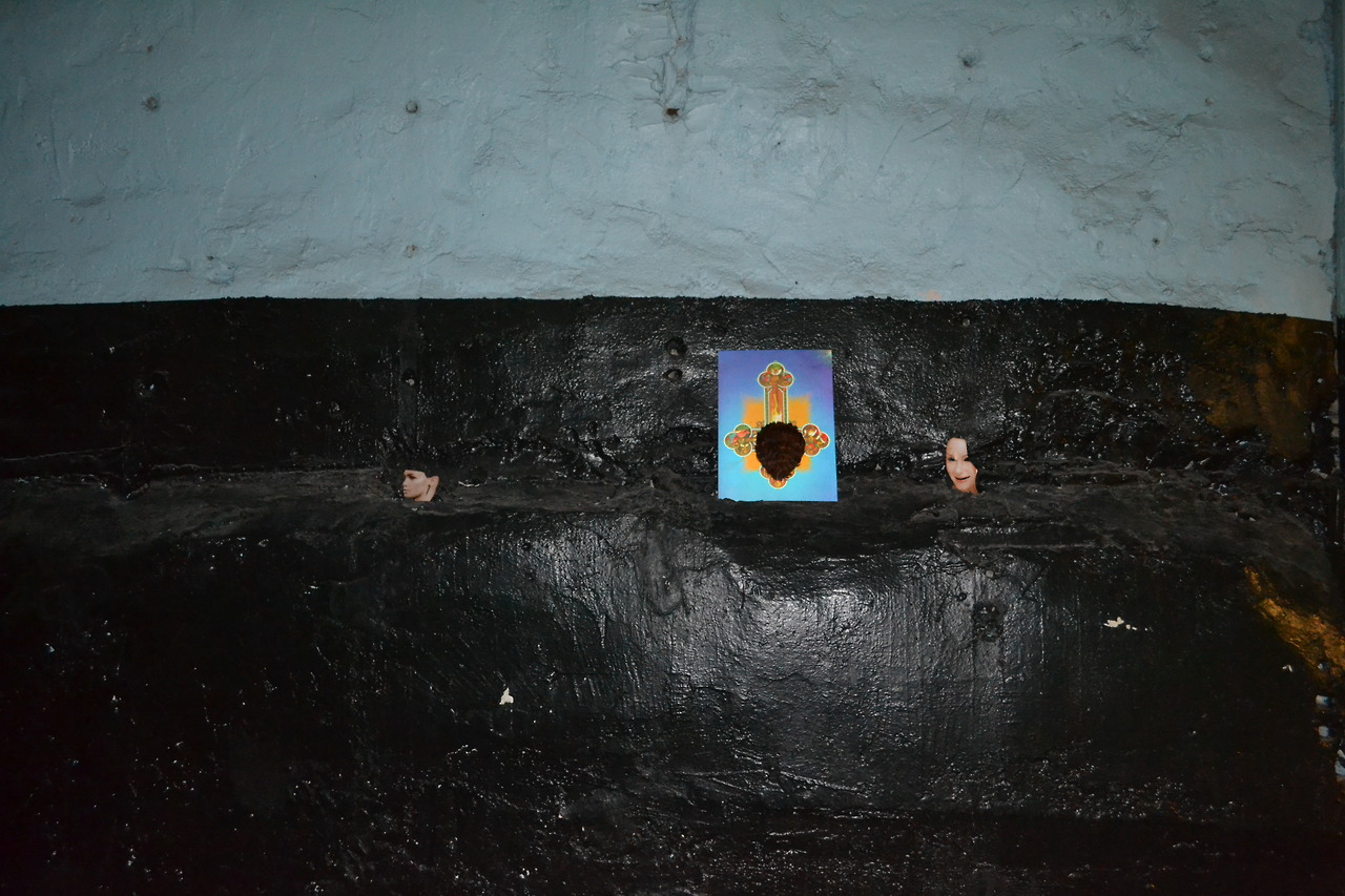 Black Wall with Thunder Shelf  (still lifes: Oil Portrait NO.3, Oil Portrait NO.5 and Jesus with feathers)
