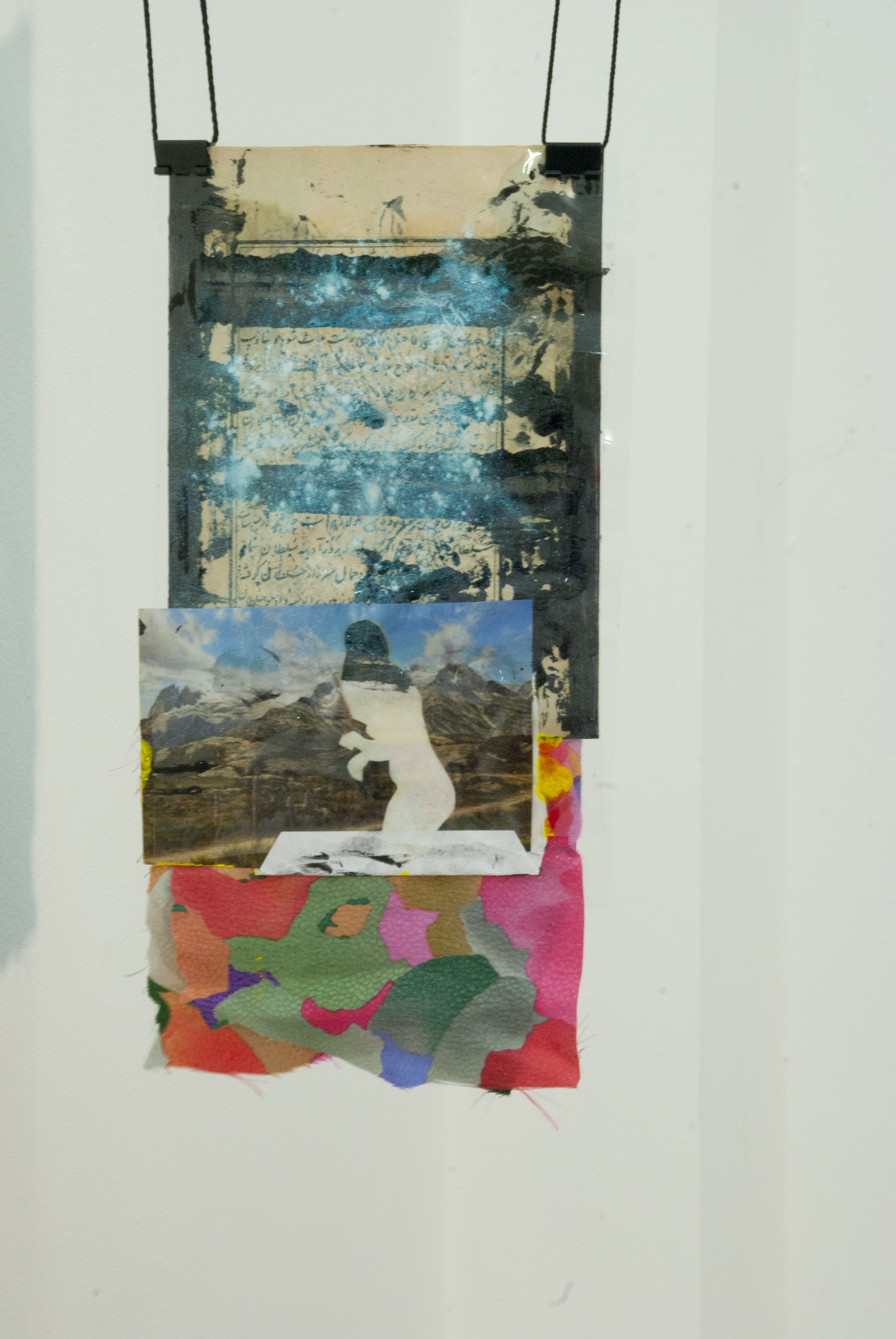 OZ_Still Images in the Mountain Will Remember When You Left Me. Fabric, envelope, ink, drawing, cut-out images, paint, acetate. 18 cm x 33 cm 2015 .jpg