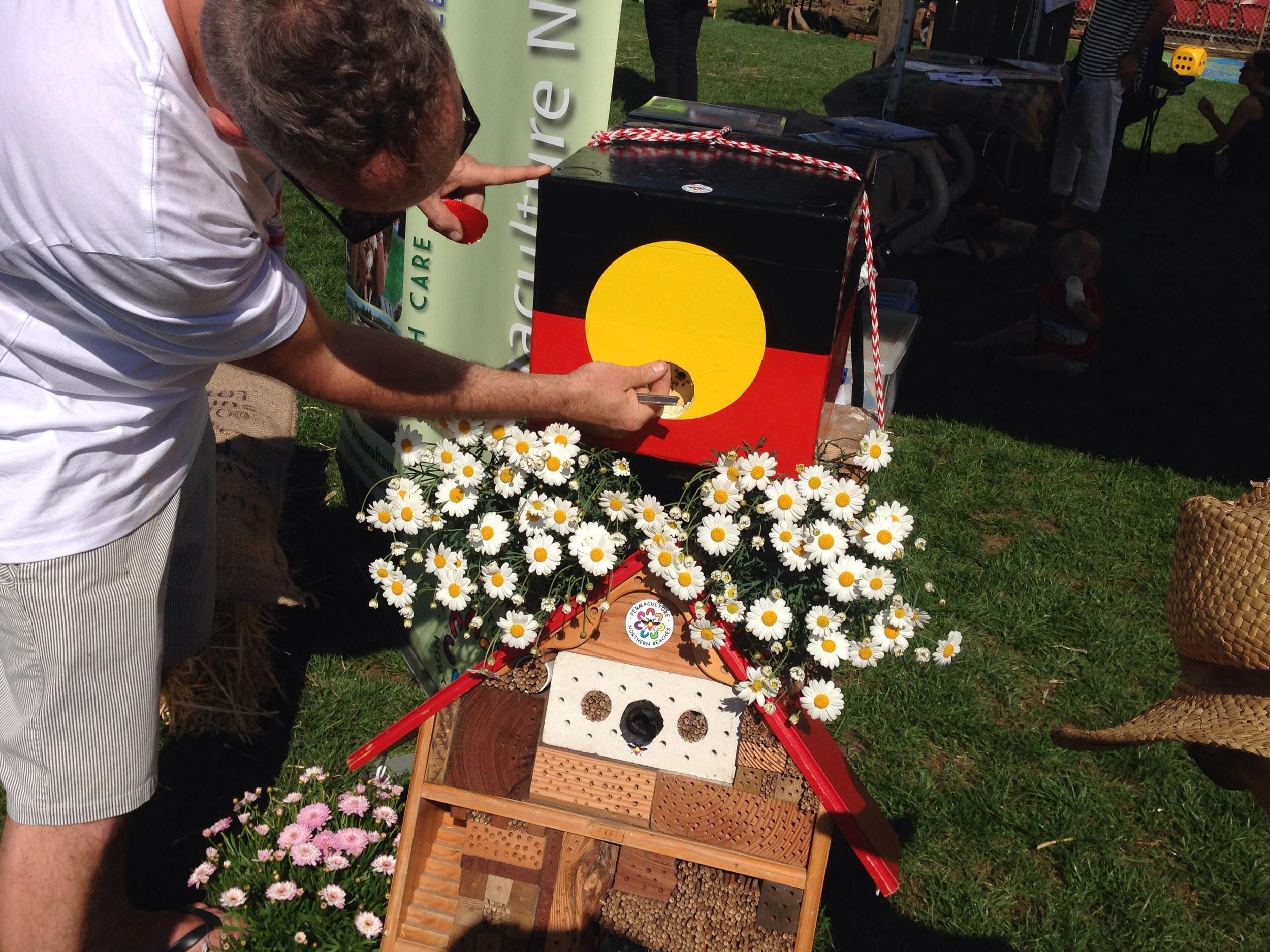 Dan opening the native stingless bee hive
