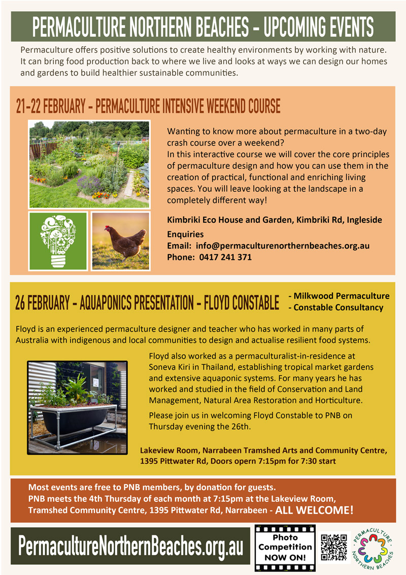 Permaculture Northern Beaches February 2015 events flyer