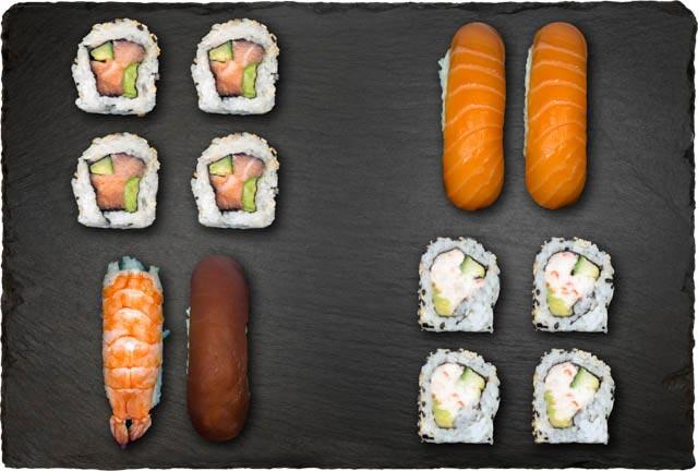 2.stk Nigiri m. laks, 1.stk Nigiri m. tun, 1.stk Nigiri m. reje, 4.stk Califonia, Indside-Out Maki, 4.stk Spicy Laks og Indside-Out Maki.