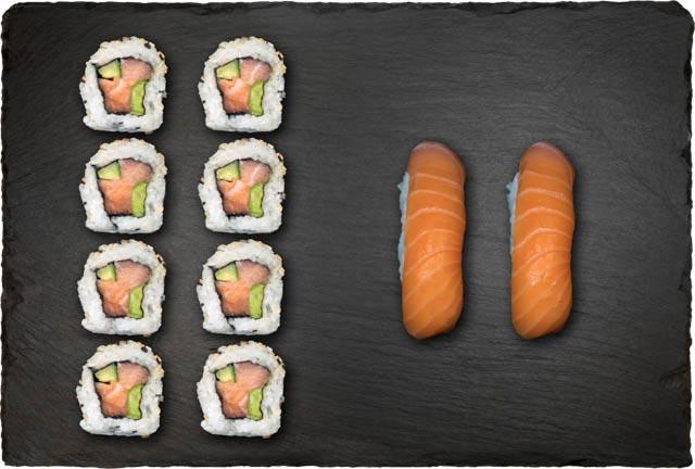 2.stk Nigiri m. laks, 8.stk Spicy Laks ogIndside-Out Maki.