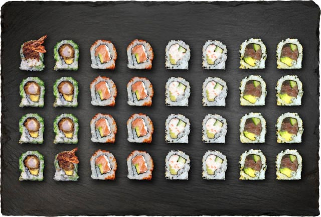8.stk Indside-Out California, 8.stk Indside-Out Alaska, 8.stk Indside-Out Ebi Tempura, og 8.stk Indside-Out Spicy Tun.